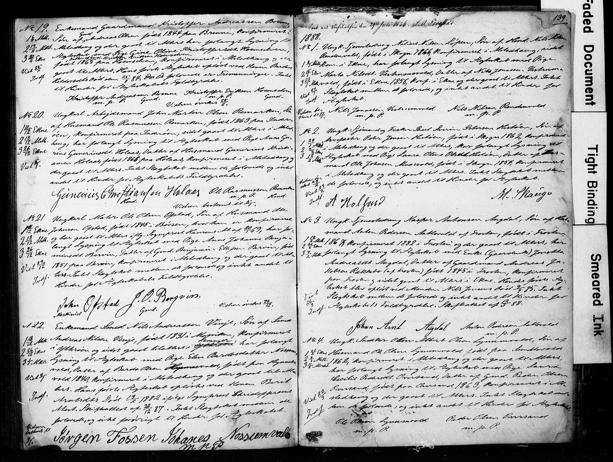 SAT, Ministerialprotokoller, klokkerbøker og fødselsregistre - Nord-Trøndelag, 717/L0161: Forlovererklæringer nr. 717A11, 1850-1895, s. 139