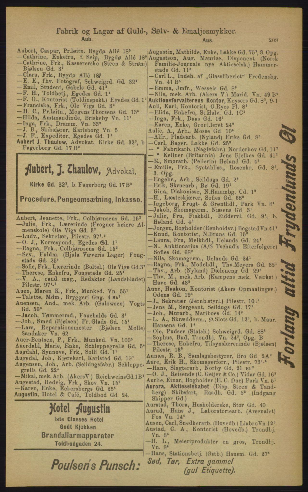 PUBL, Kristiania/Oslo adressebok, 1906, s. 209