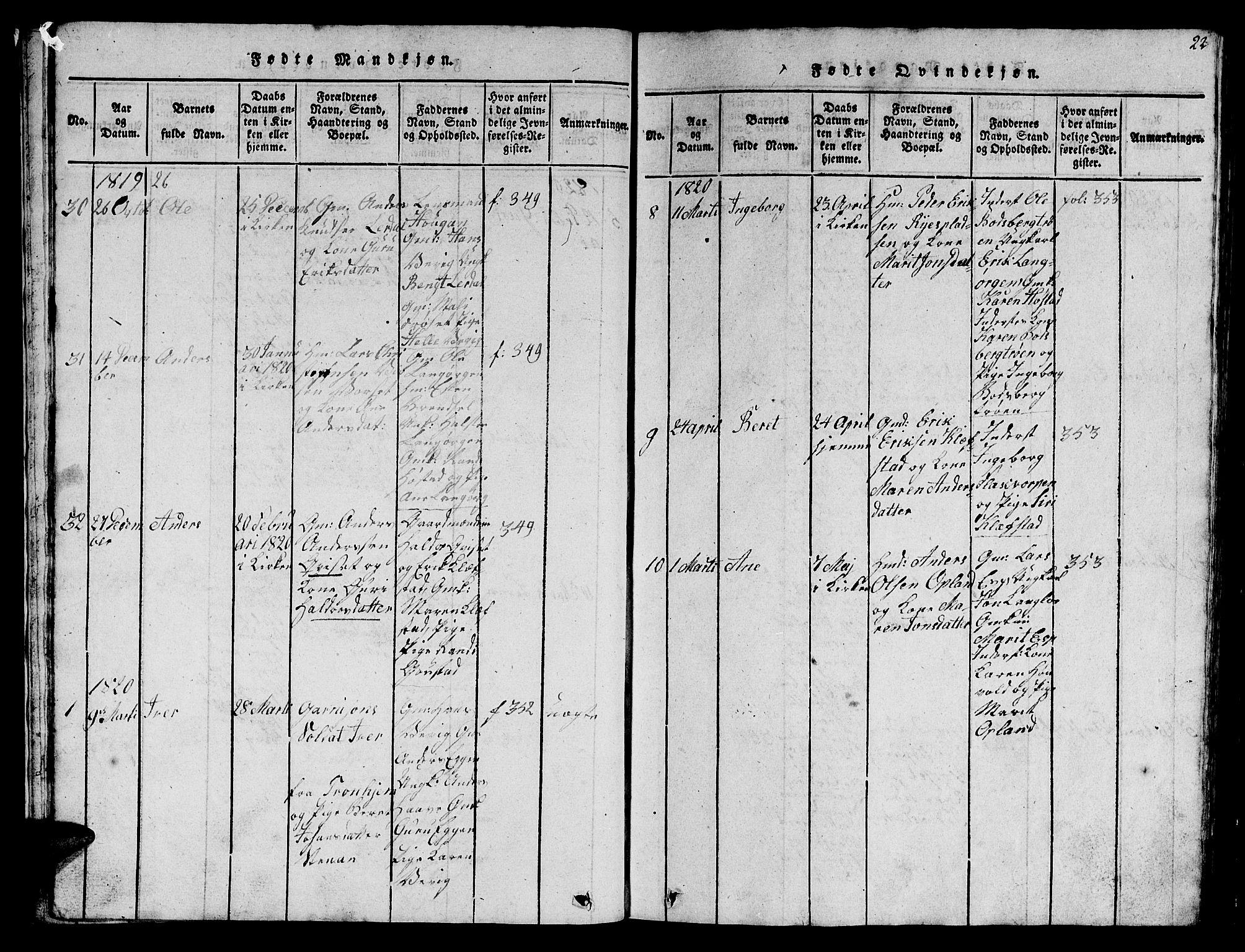 SAT, Ministerialprotokoller, klokkerbøker og fødselsregistre - Sør-Trøndelag, 612/L0385: Klokkerbok nr. 612C01, 1816-1845, s. 22