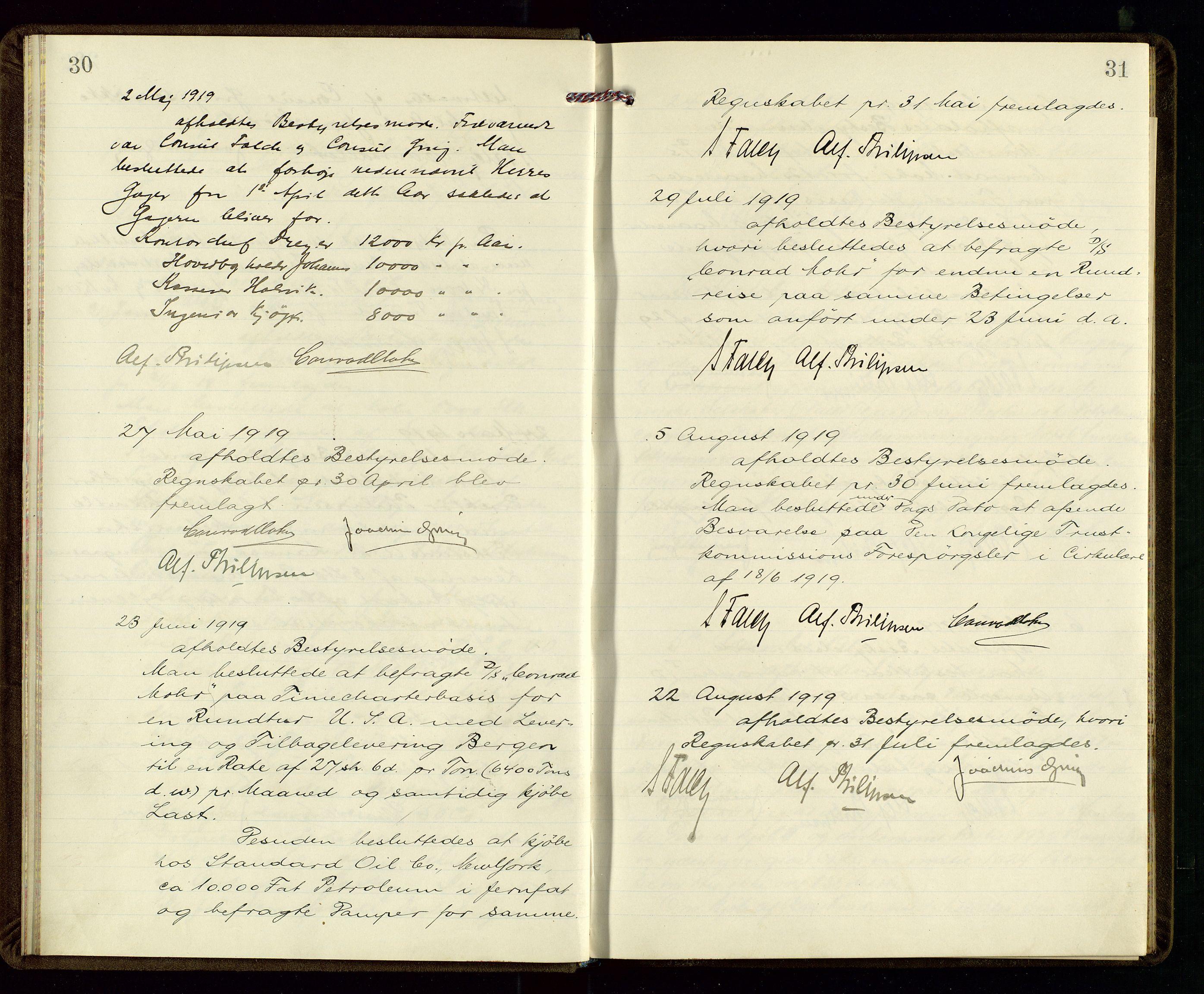 SAST, PA 1533 - A/S Vestlandske Petroleumscompani, A/Aa/L0001: Generalforsamlinger og styreprotokoller, 1915-1922, s. 30-31