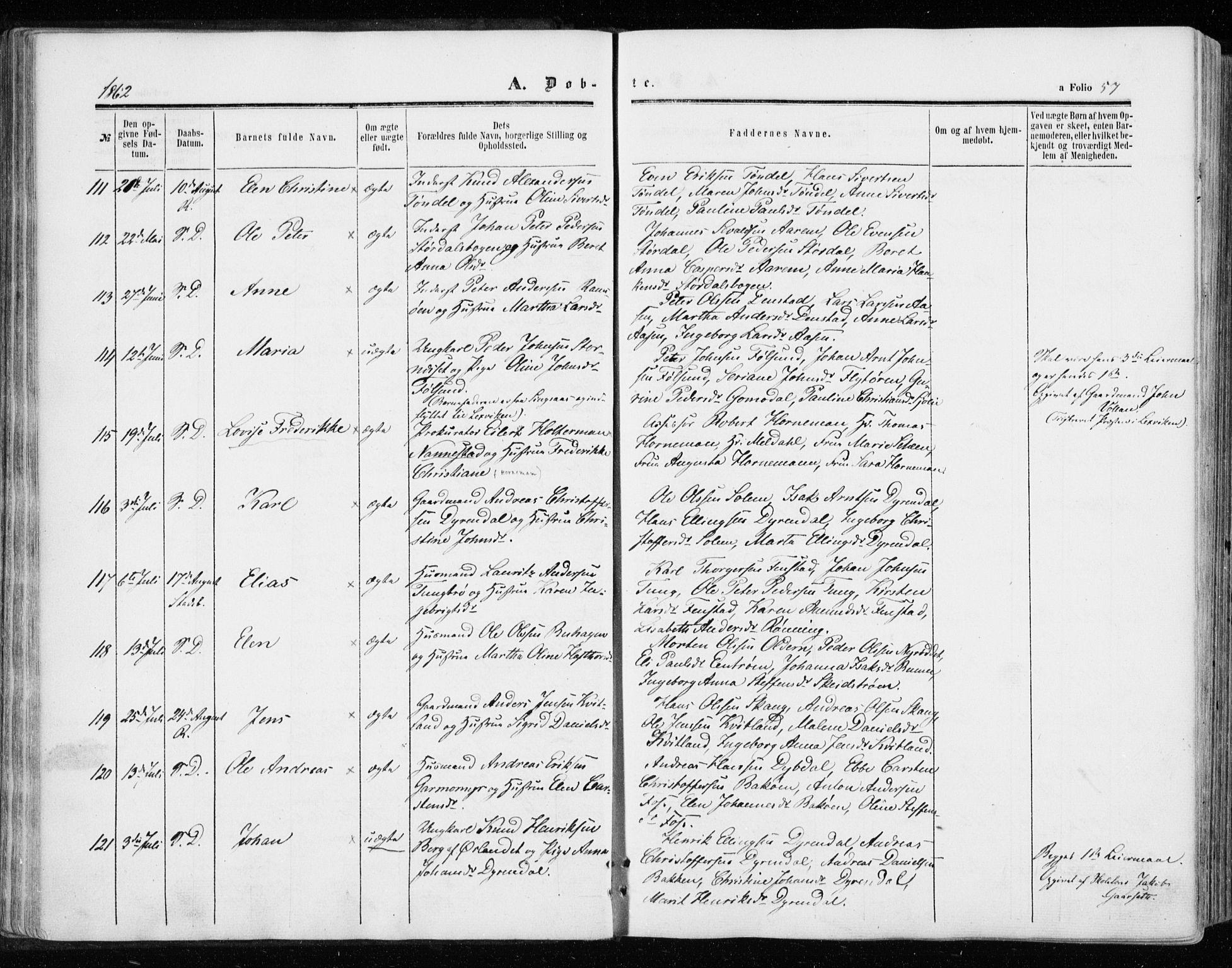 SAT, Ministerialprotokoller, klokkerbøker og fødselsregistre - Sør-Trøndelag, 646/L0612: Ministerialbok nr. 646A10, 1858-1869, s. 57