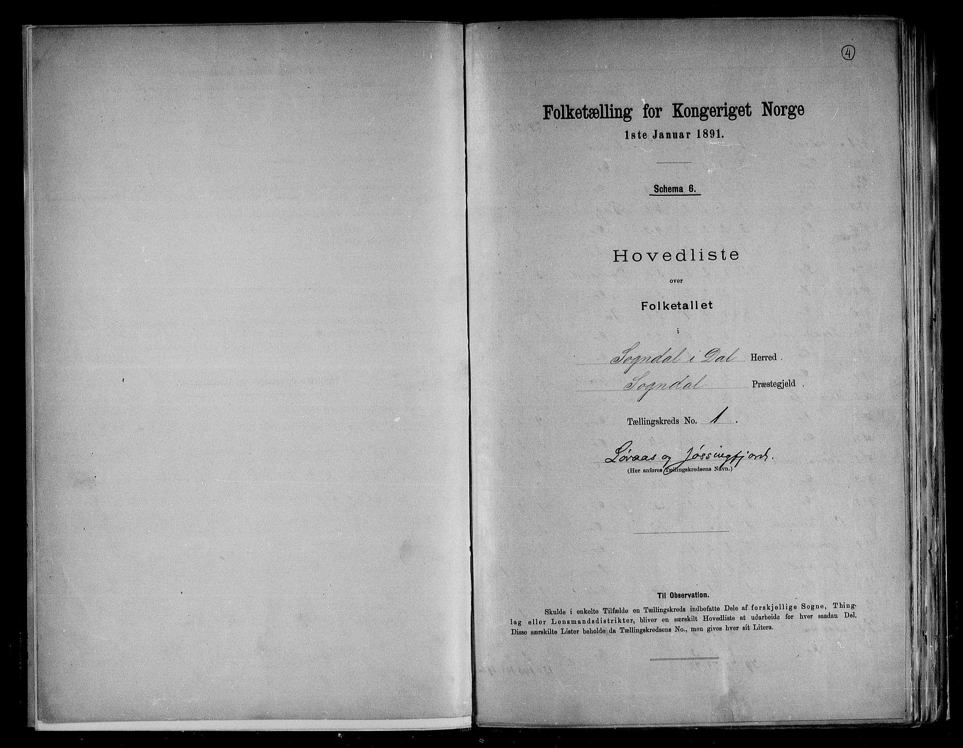 RA, Folketelling 1891 for 1111 Sokndal herred, 1891, s. 4
