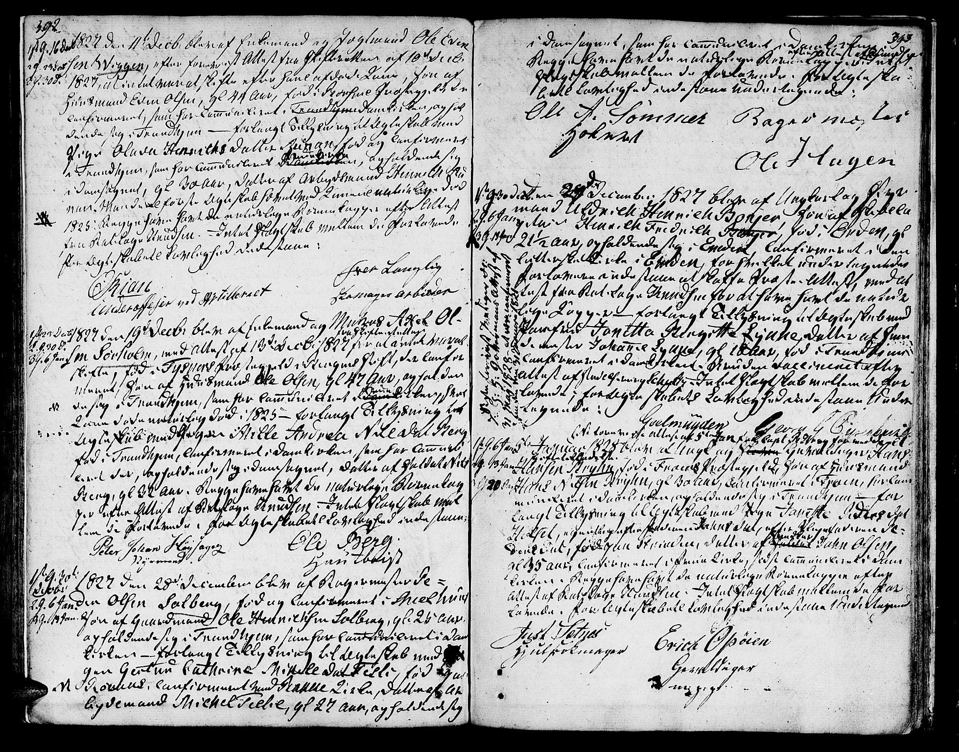 SAT, Ministerialprotokoller, klokkerbøker og fødselsregistre - Sør-Trøndelag, 601/L0042: Ministerialbok nr. 601A10, 1802-1830, s. 392-393