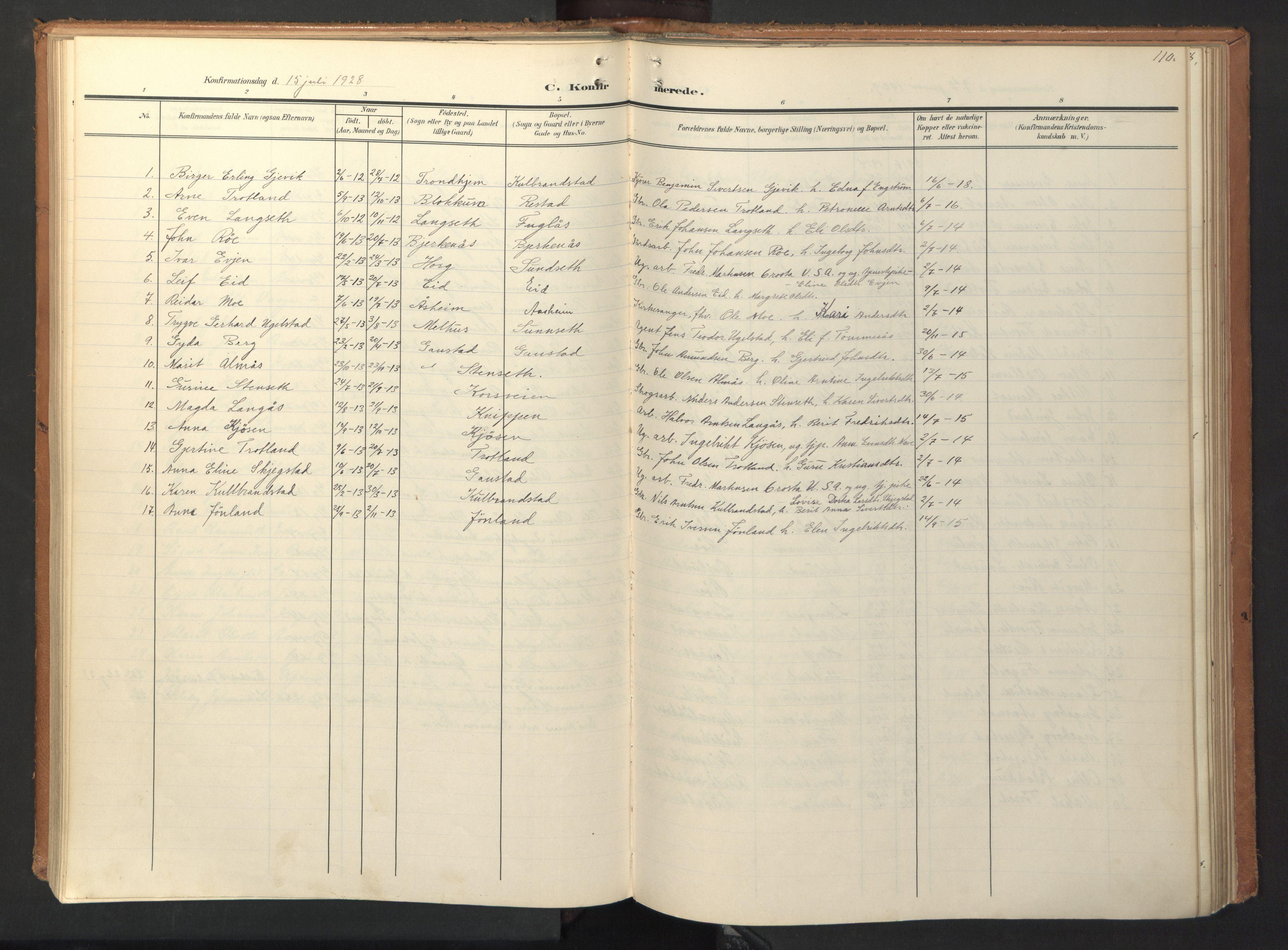 SAT, Ministerialprotokoller, klokkerbøker og fødselsregistre - Sør-Trøndelag, 694/L1128: Ministerialbok nr. 694A02, 1906-1931, s. 110