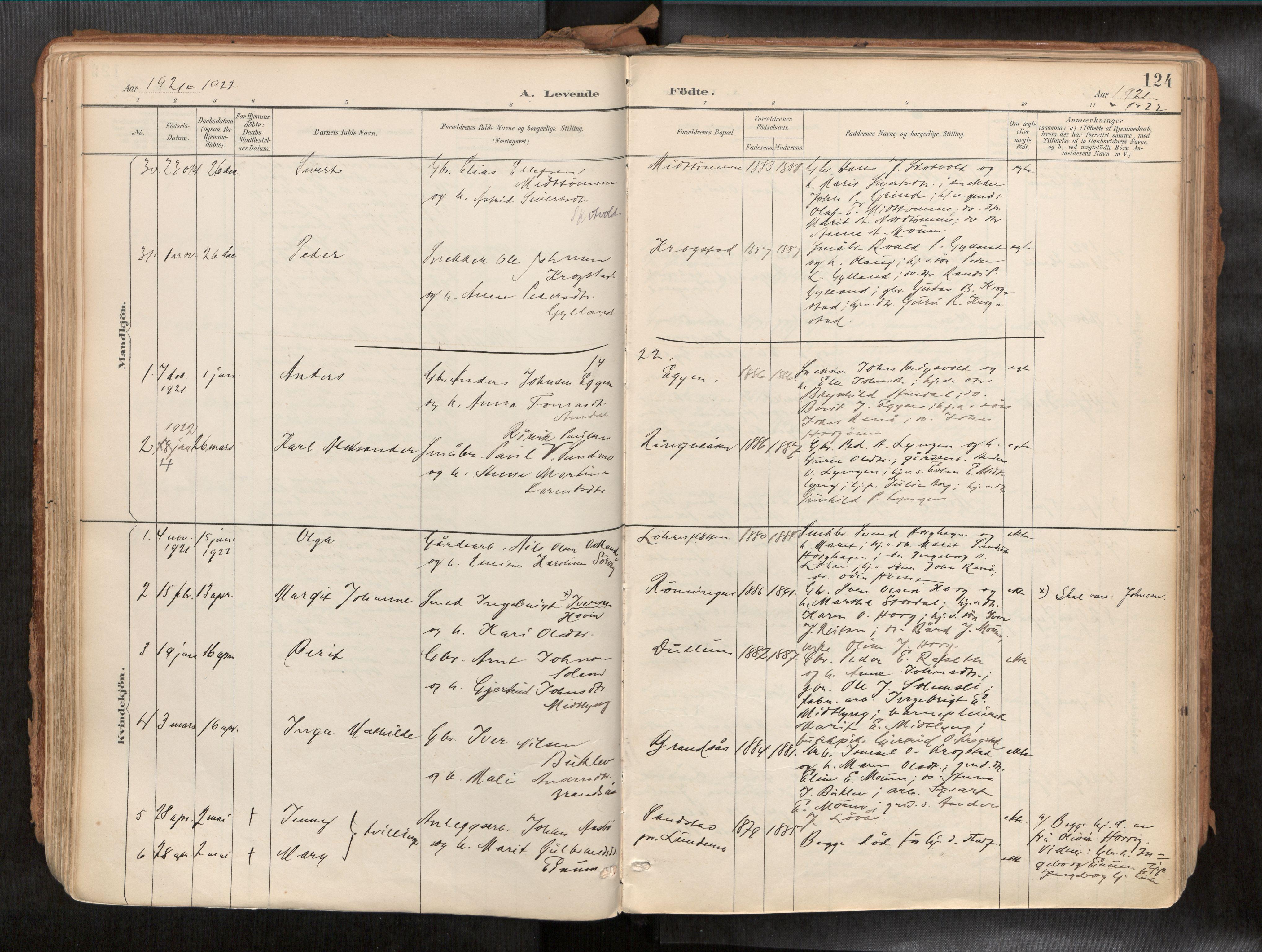 SAT, Ministerialprotokoller, klokkerbøker og fødselsregistre - Sør-Trøndelag, 692/L1105b: Ministerialbok nr. 692A06, 1891-1934, s. 124