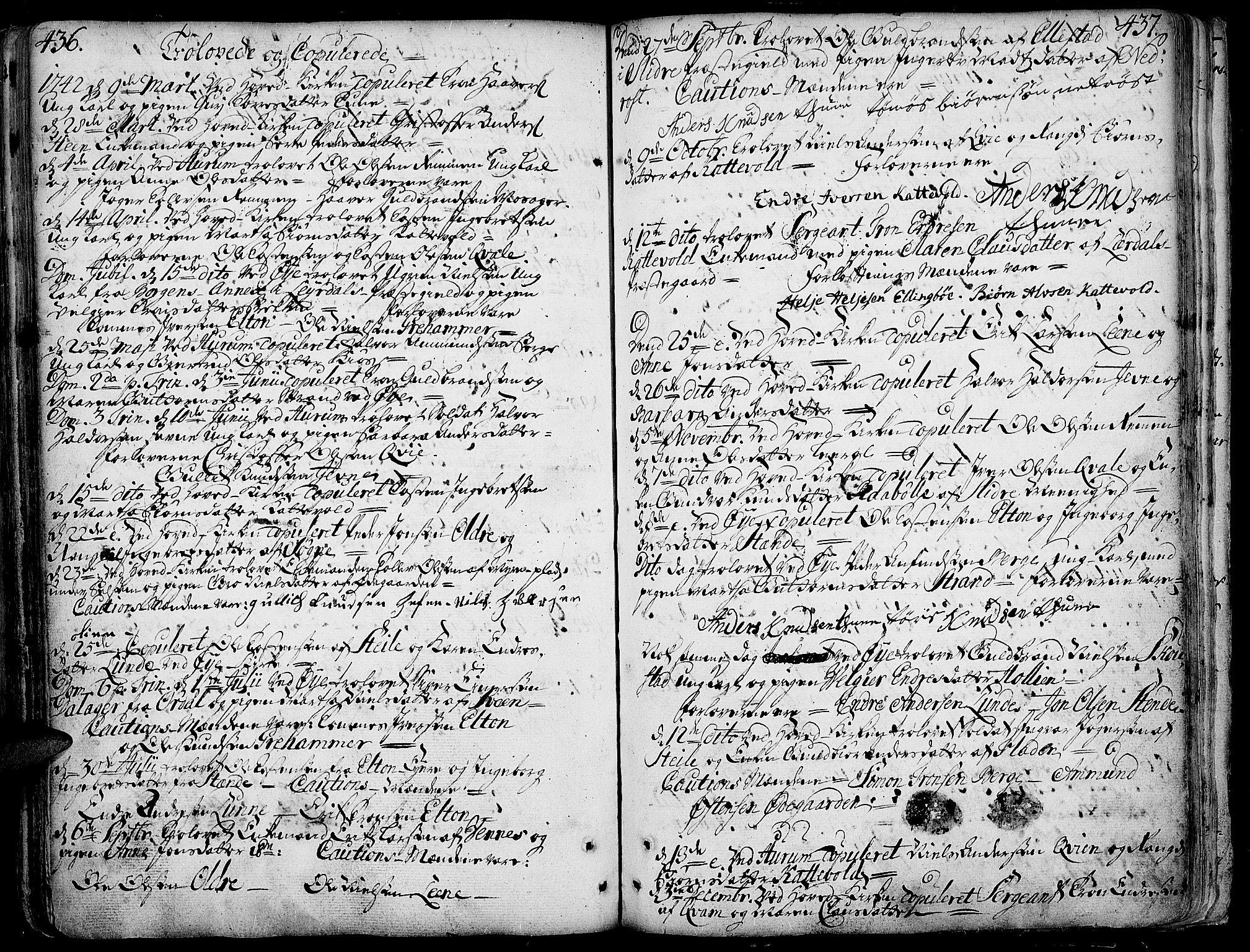SAH, Vang prestekontor, Valdres, Ministerialbok nr. 1, 1730-1796, s. 436-437