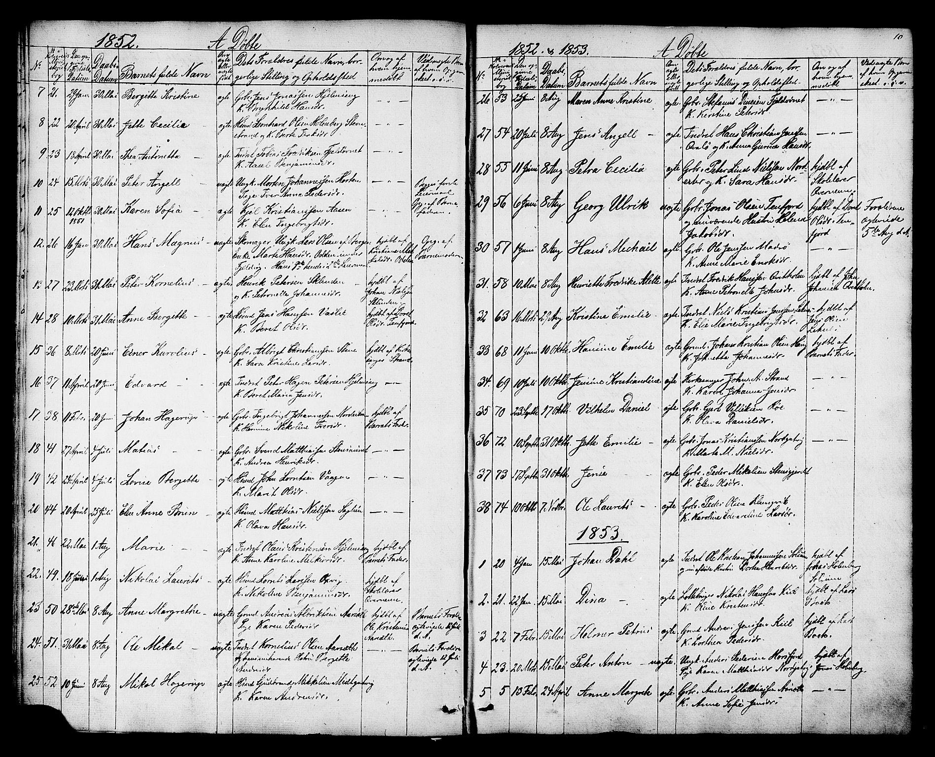 SAT, Ministerialprotokoller, klokkerbøker og fødselsregistre - Nord-Trøndelag, 788/L0695: Ministerialbok nr. 788A02, 1843-1862, s. 10
