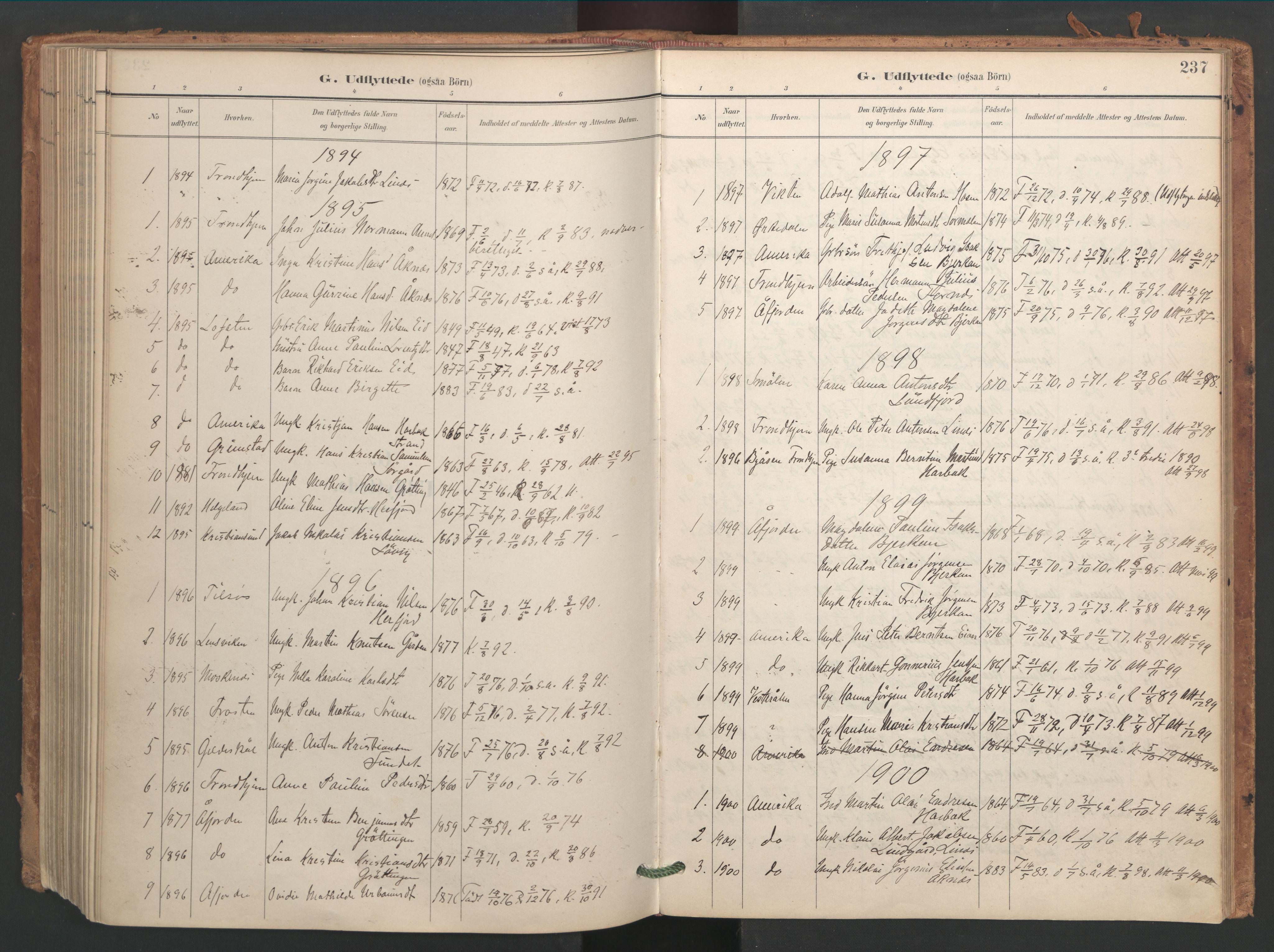 SAT, Ministerialprotokoller, klokkerbøker og fødselsregistre - Sør-Trøndelag, 656/L0693: Ministerialbok nr. 656A02, 1894-1913, s. 237