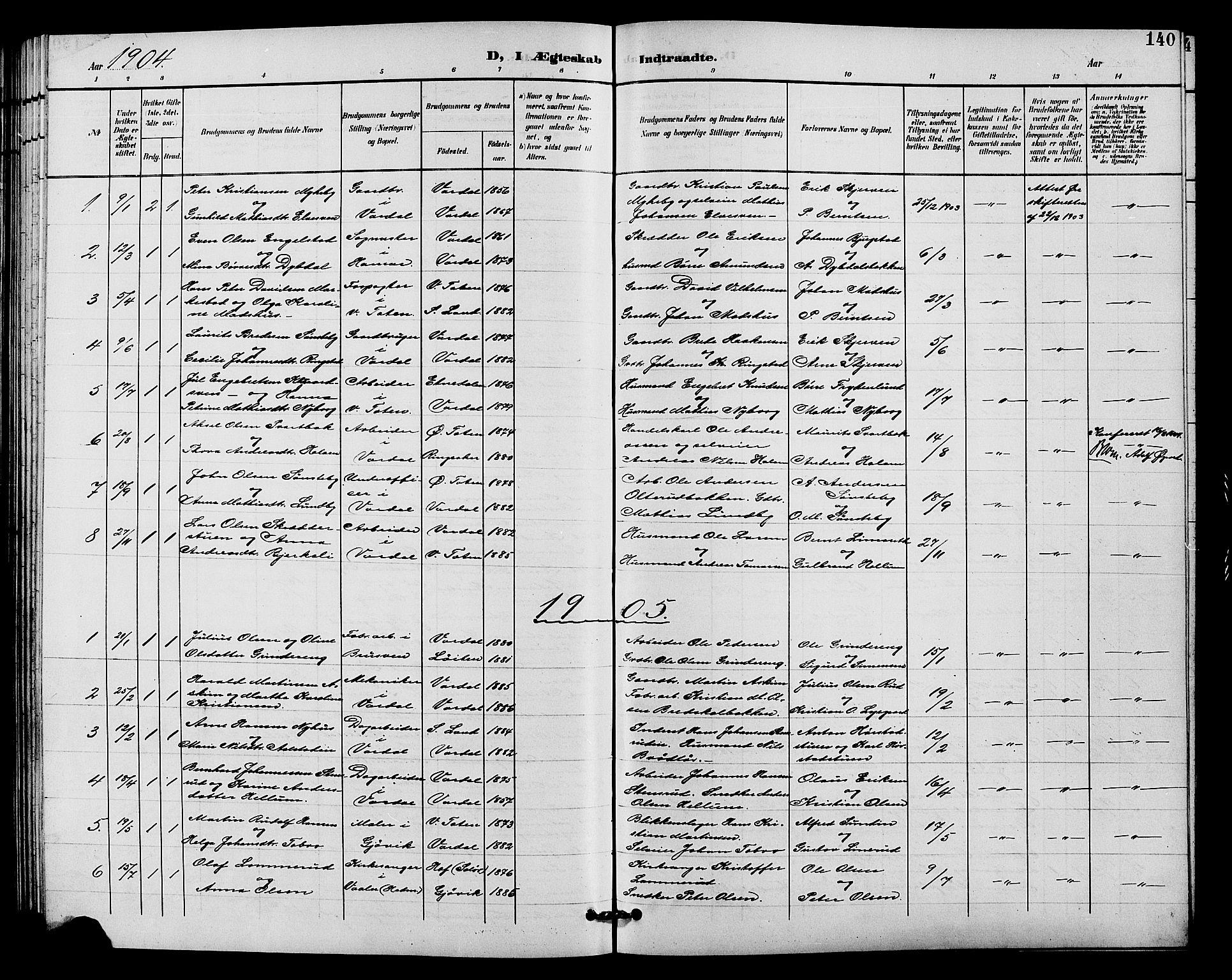 SAH, Vardal prestekontor, H/Ha/Hab/L0011: Klokkerbok nr. 11, 1899-1913, s. 140