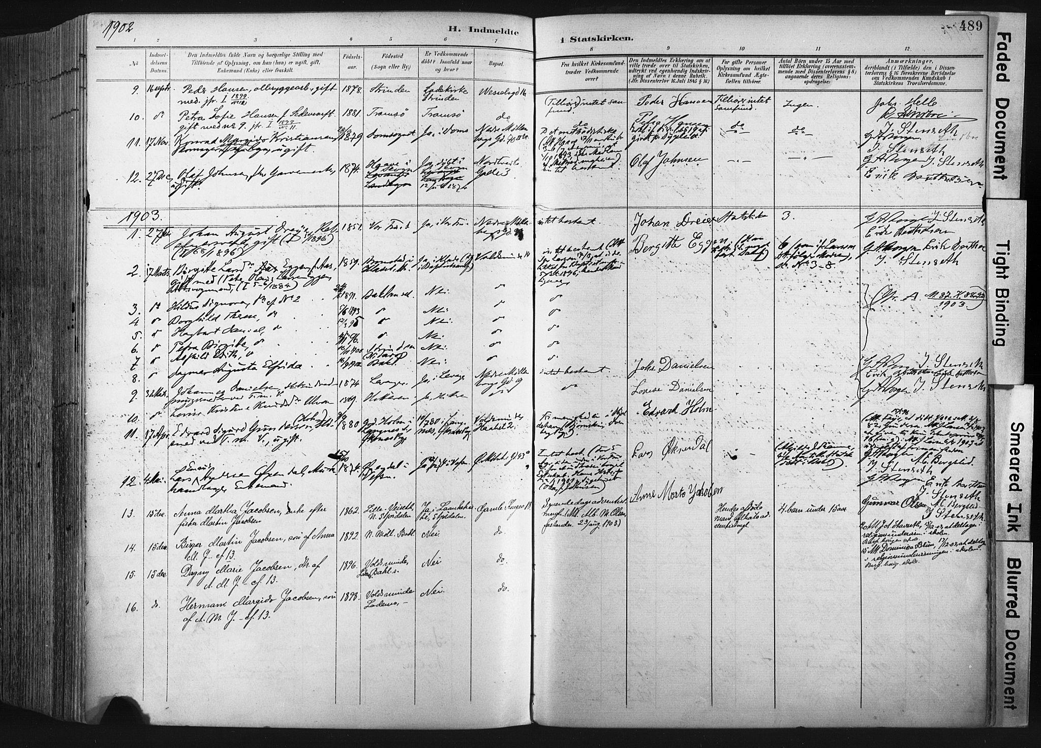 SAT, Ministerialprotokoller, klokkerbøker og fødselsregistre - Sør-Trøndelag, 604/L0201: Ministerialbok nr. 604A21, 1901-1911, s. 489