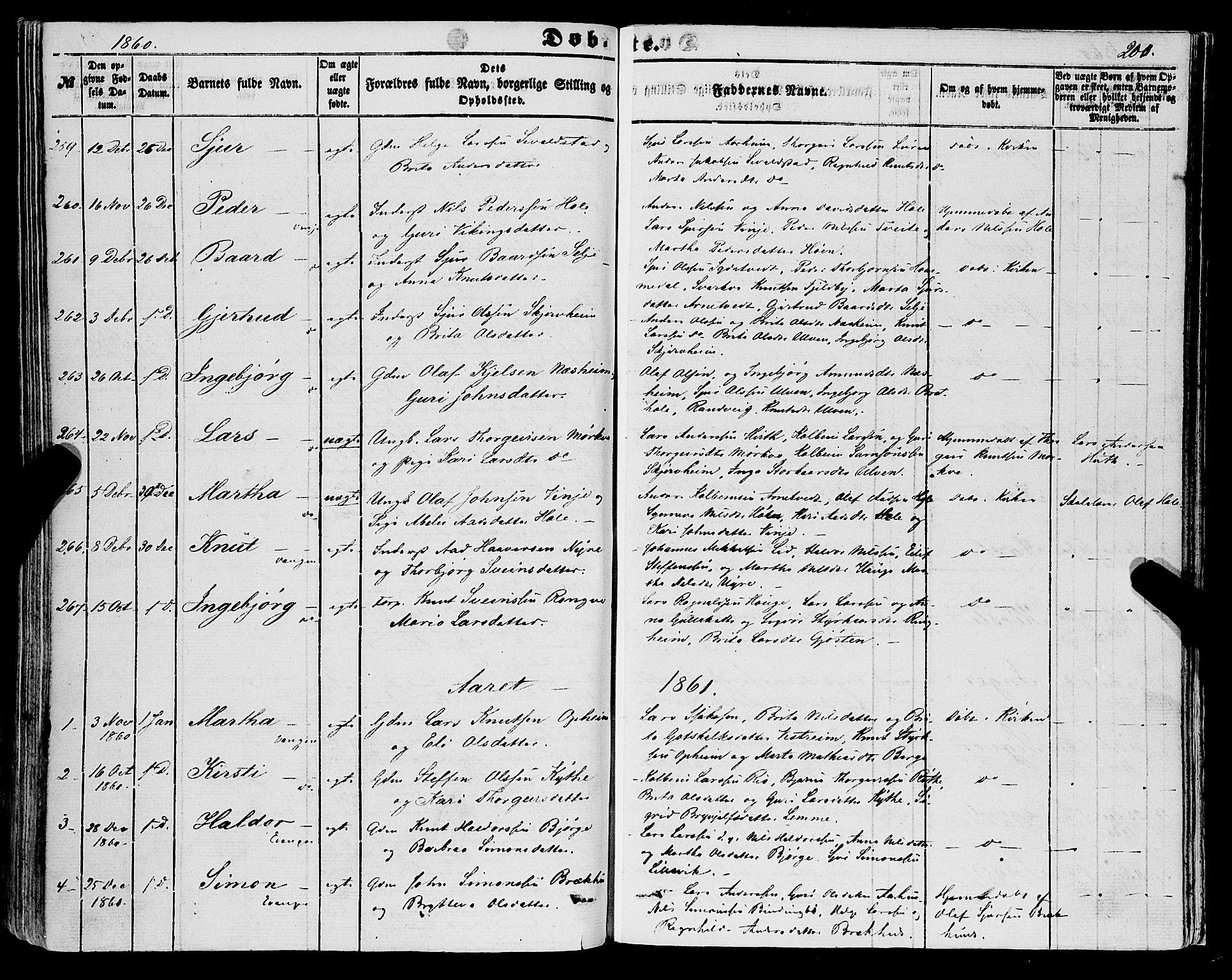SAB, Voss Sokneprestembete, H/Haa: Ministerialbok nr. A 16, 1849-1863, s. 200