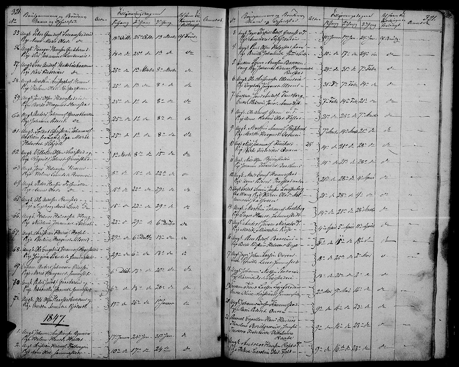 SAH, Østre Toten prestekontor, Klokkerbok nr. 2, 1840-1847, s. 321
