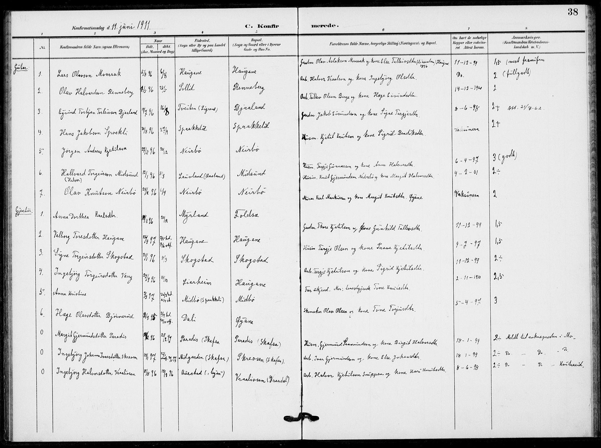 SAKO, Fyresdal kirkebøker, F/Fb/L0004: Ministerialbok nr. II 4, 1903-1920, s. 38