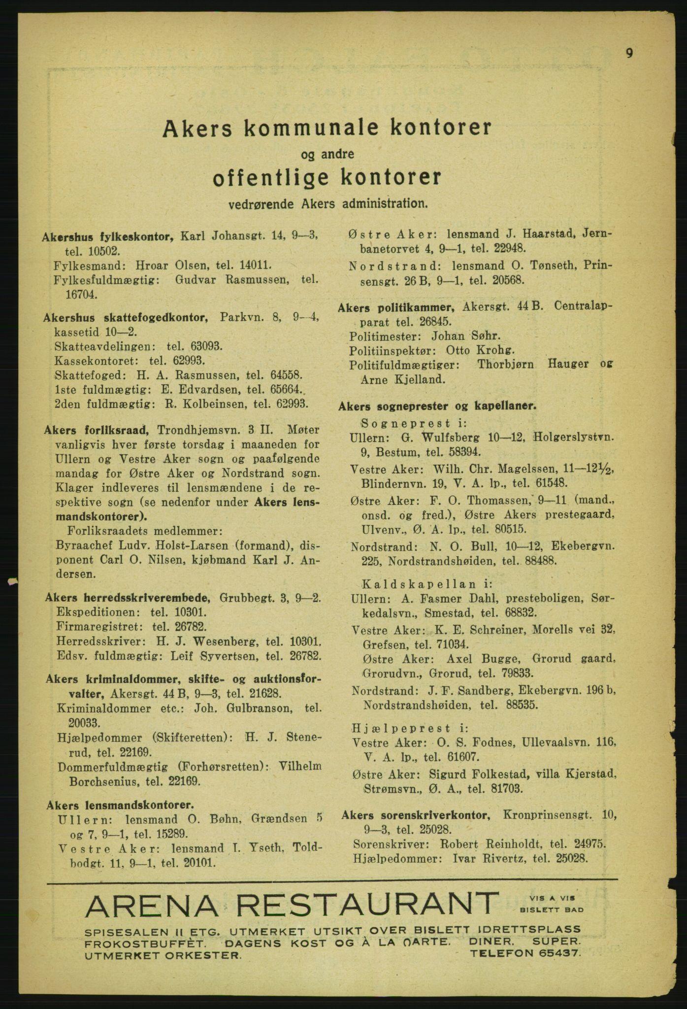 PUBL, Aker adressebok/adressekalender, 1929, s. 9