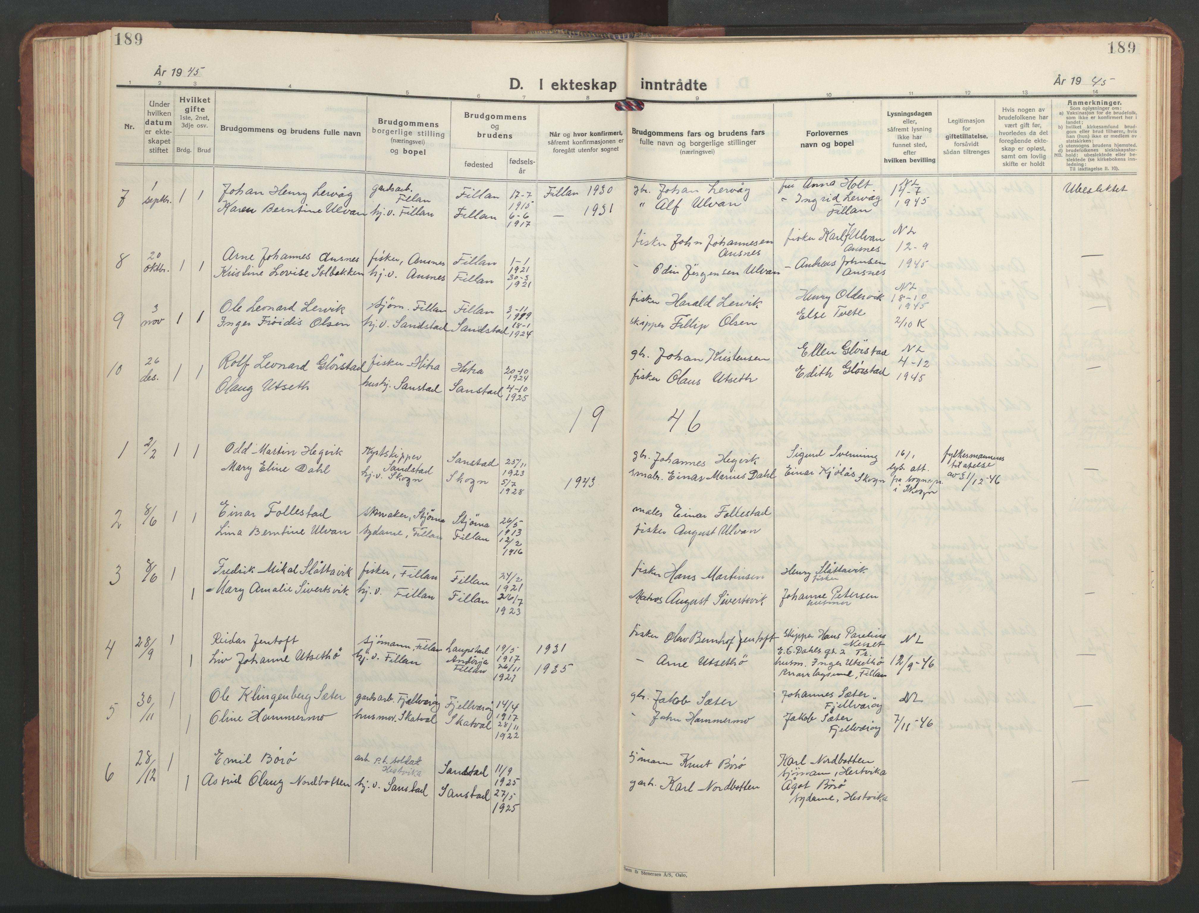 SAT, Ministerialprotokoller, klokkerbøker og fødselsregistre - Sør-Trøndelag, 637/L0564: Klokkerbok nr. 637C05, 1928-1968, s. 189