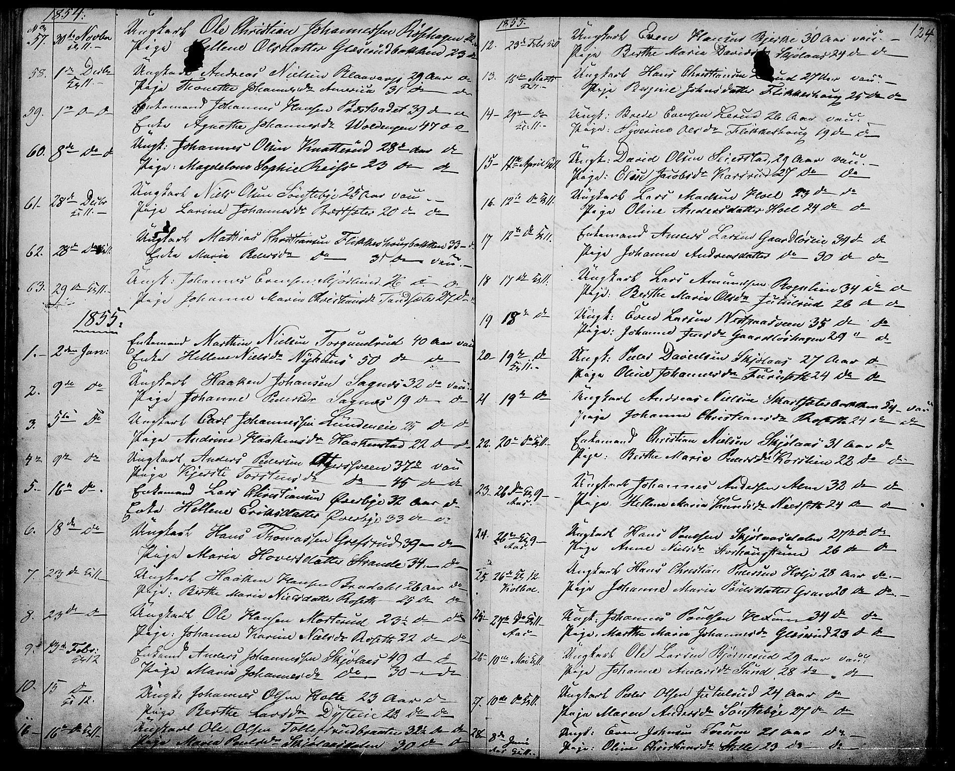 SAH, Vestre Toten prestekontor, Klokkerbok nr. 5, 1854-1870, s. 124