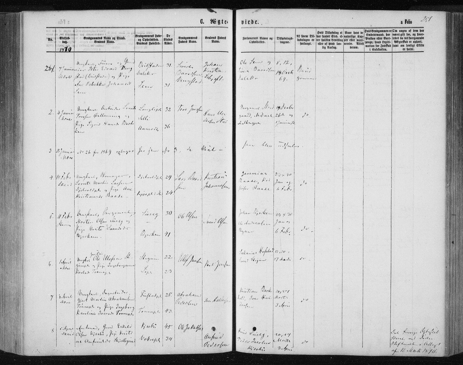 SAT, Ministerialprotokoller, klokkerbøker og fødselsregistre - Nord-Trøndelag, 735/L0345: Ministerialbok nr. 735A08 /1, 1863-1872, s. 251
