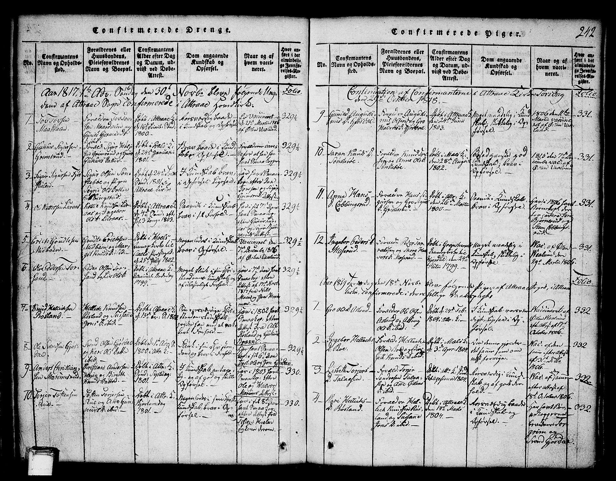 SAKO, Tinn kirkebøker, G/Ga/L0001: Klokkerbok nr. I 1, 1815-1850, s. 242
