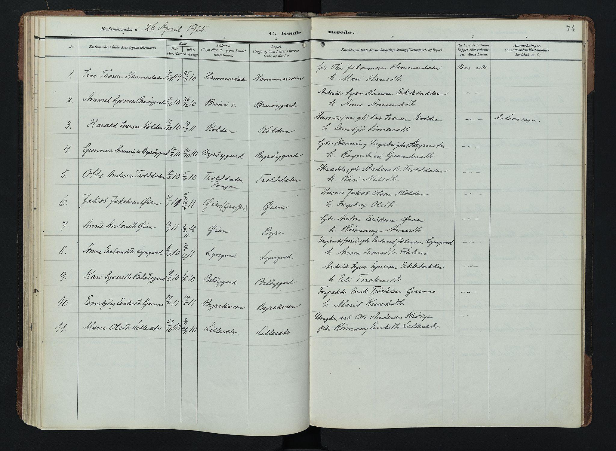 SAH, Lom prestekontor, K/L0011: Ministerialbok nr. 11, 1904-1928, s. 74