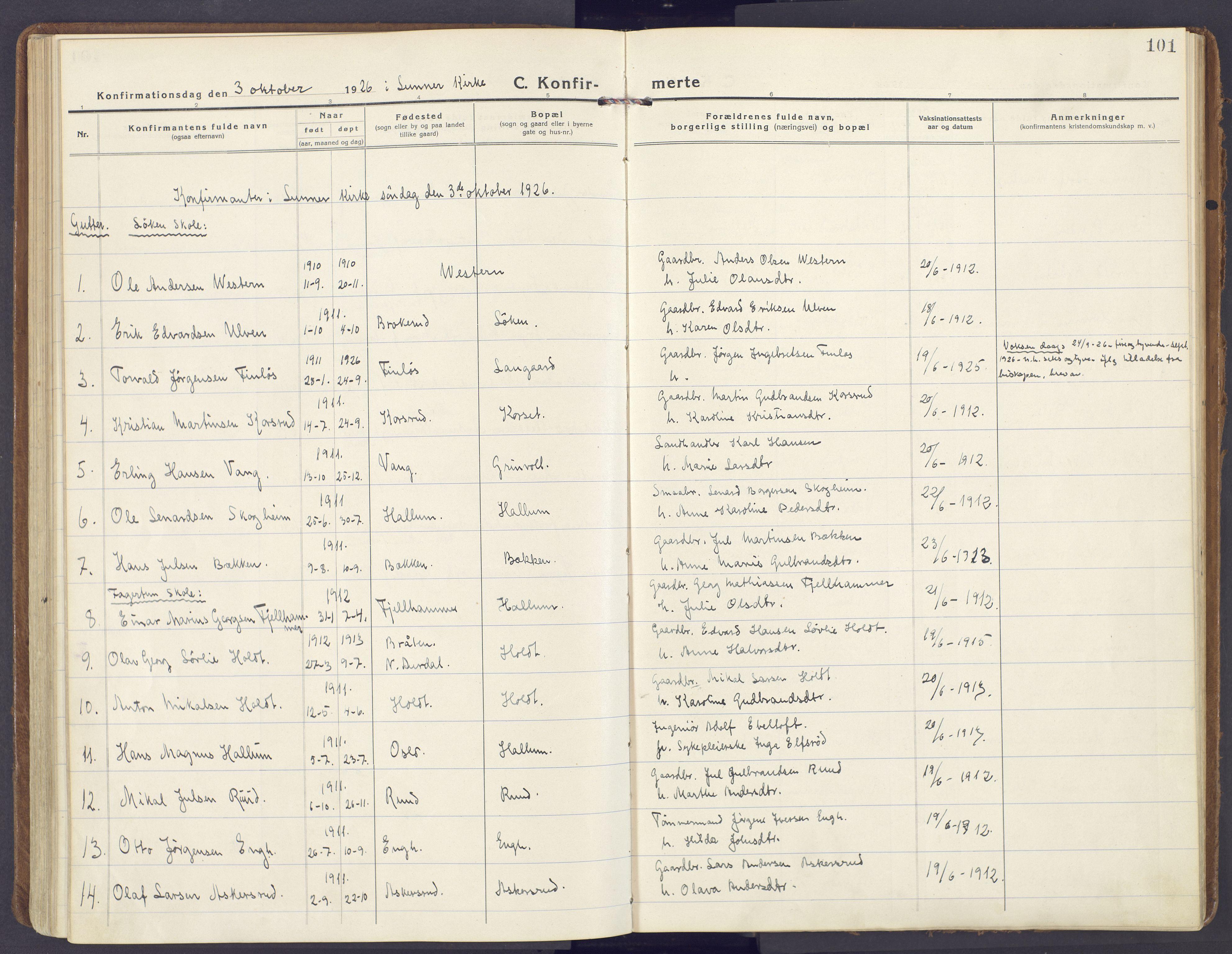 SAH, Lunner prestekontor, H/Ha/Haa/L0002: Ministerialbok nr. 2, 1922-1931, s. 101