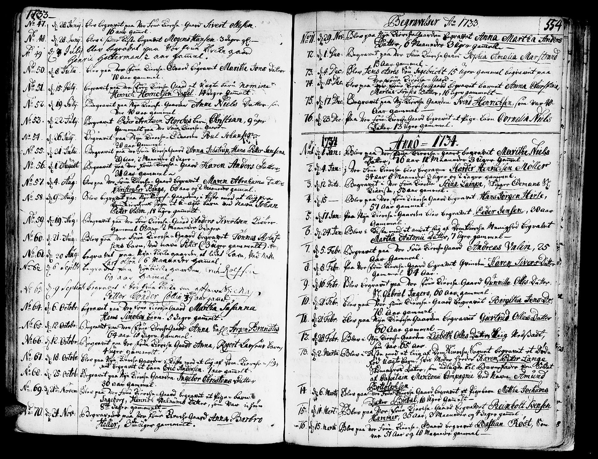 SAT, Ministerialprotokoller, klokkerbøker og fødselsregistre - Sør-Trøndelag, 602/L0103: Ministerialbok nr. 602A01, 1732-1774, s. 554