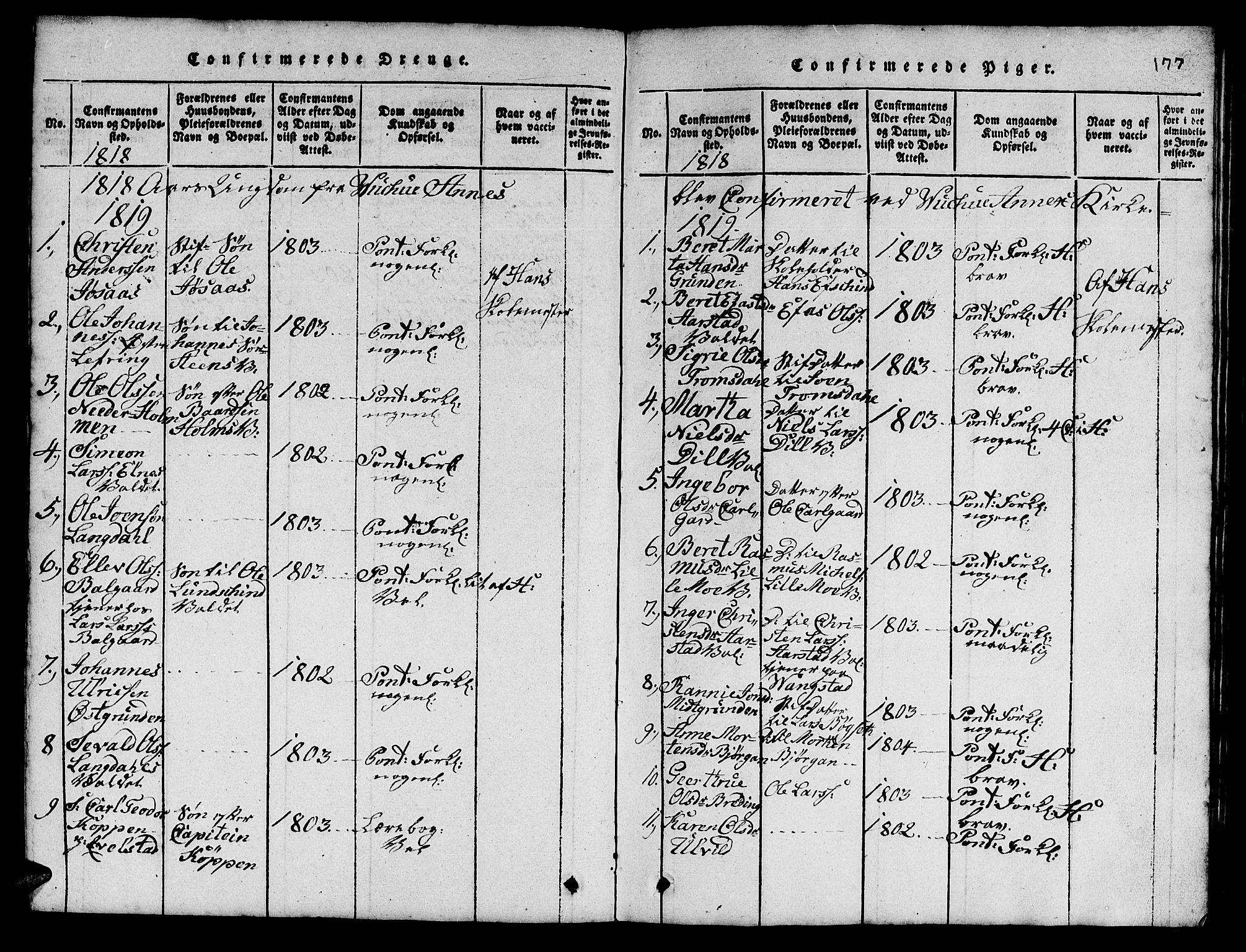 SAT, Ministerialprotokoller, klokkerbøker og fødselsregistre - Nord-Trøndelag, 724/L0265: Klokkerbok nr. 724C01, 1816-1845, s. 177