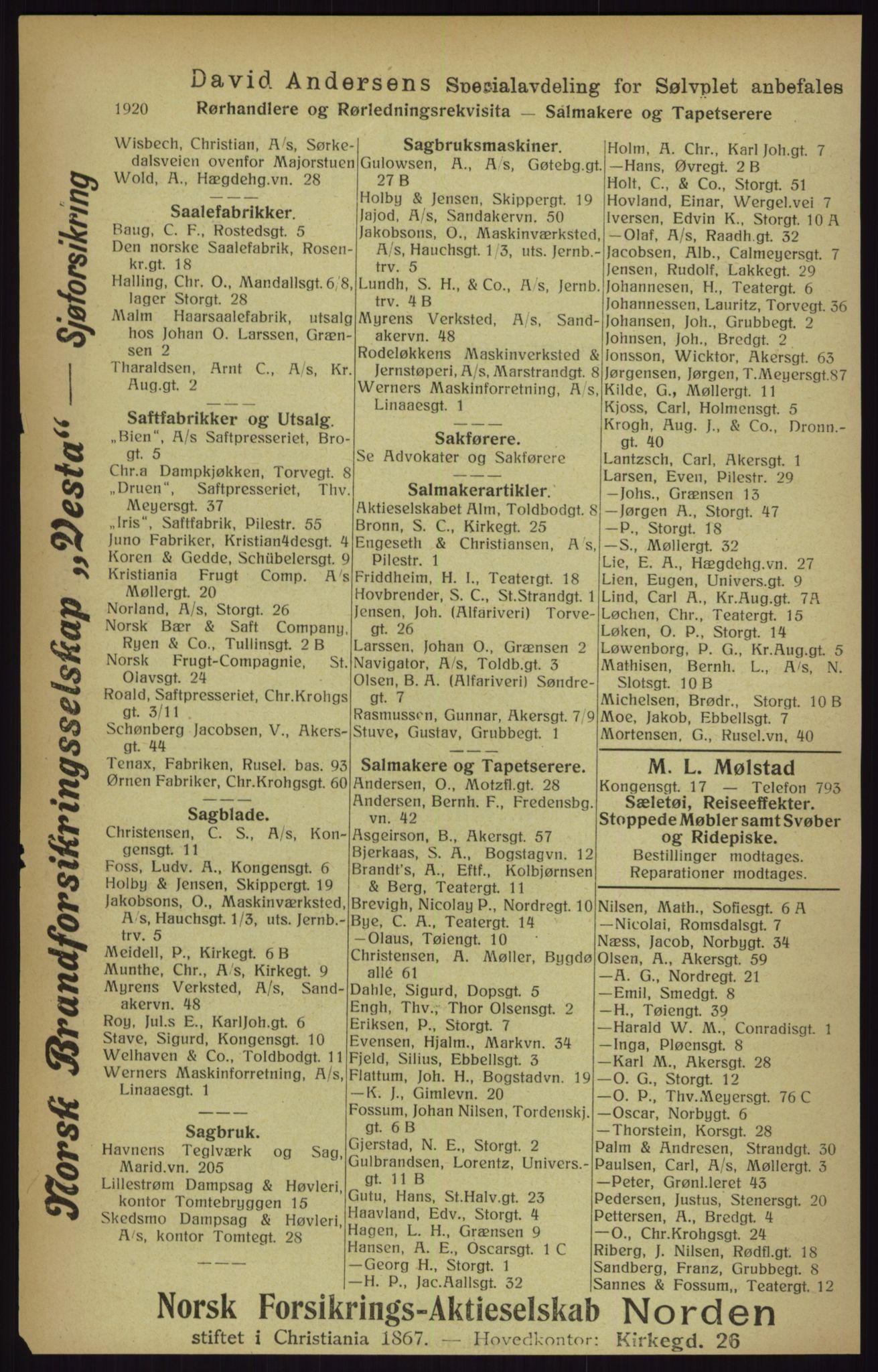 RA, Kristiania adressebok (publikasjon)*, 1916, s. 1920