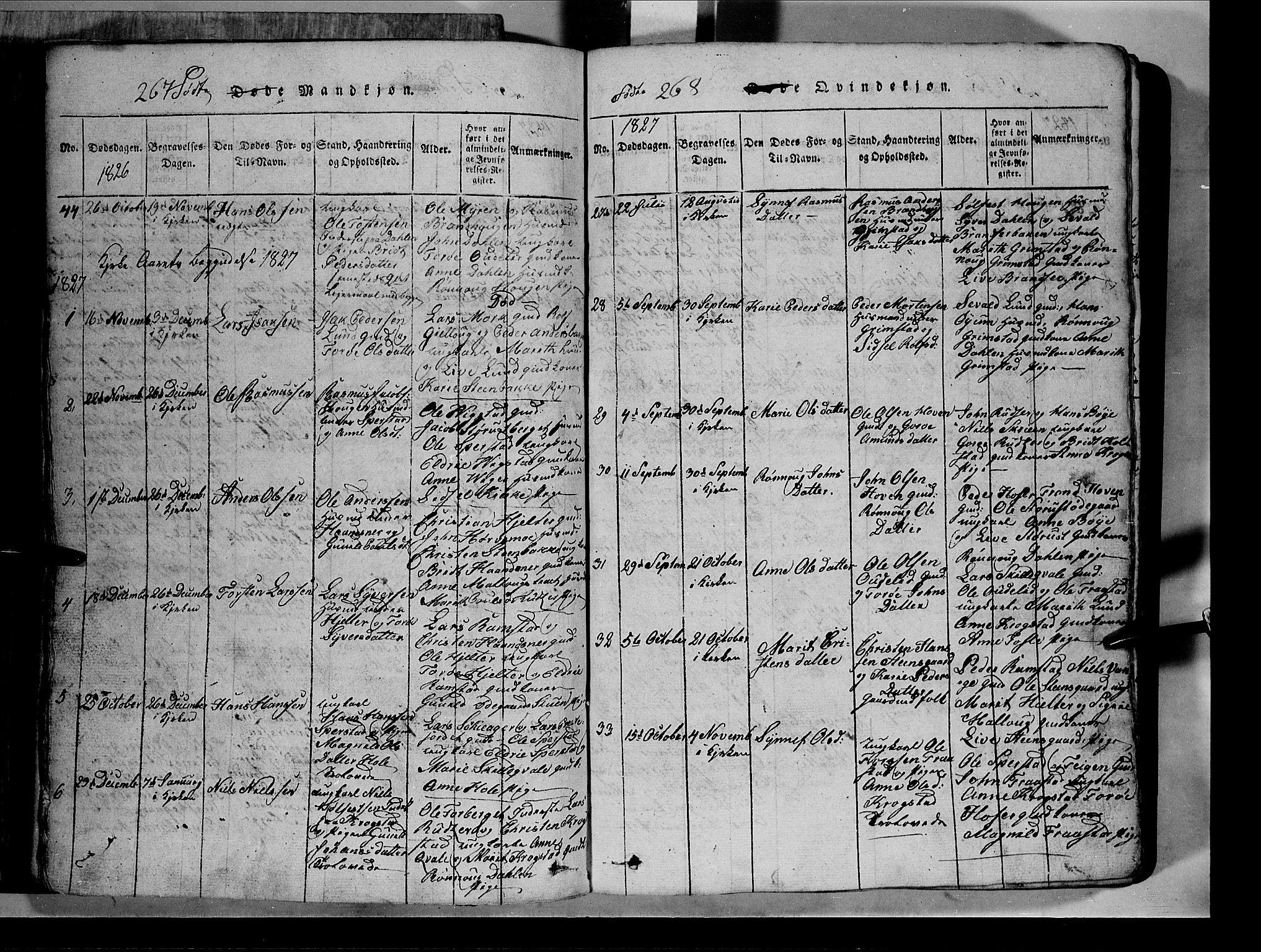SAH, Lom prestekontor, L/L0003: Klokkerbok nr. 3, 1815-1844, s. 267-268