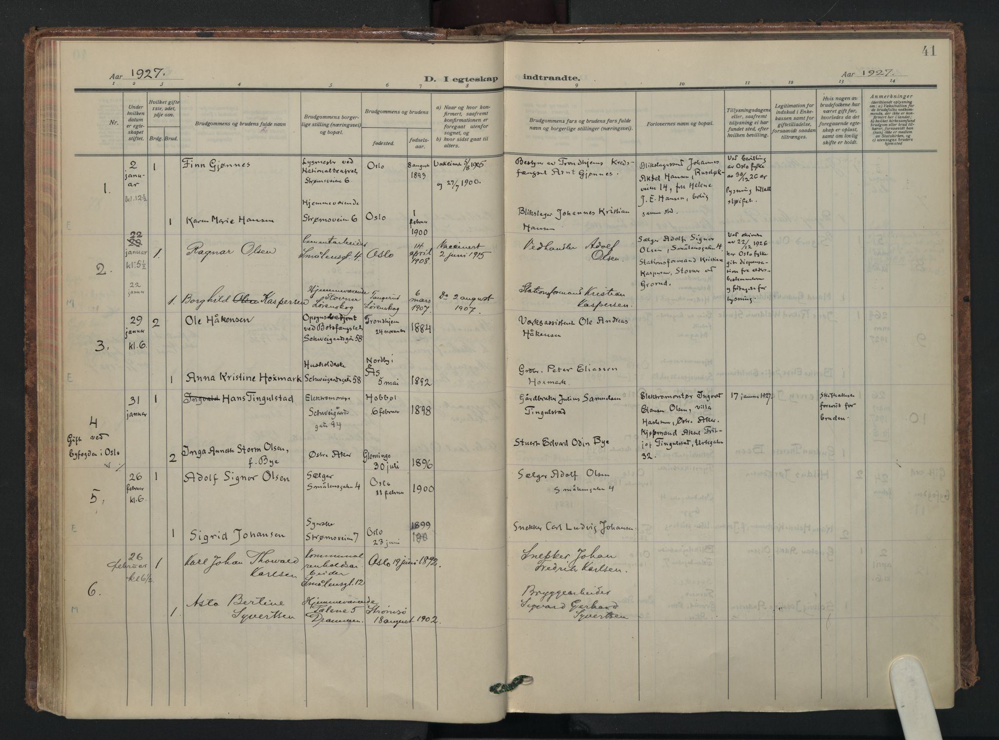 SAO, Vålerengen prestekontor Kirkebøker, F/Fa/L0005: Ministerialbok nr. 5, 1924-1936, s. 41