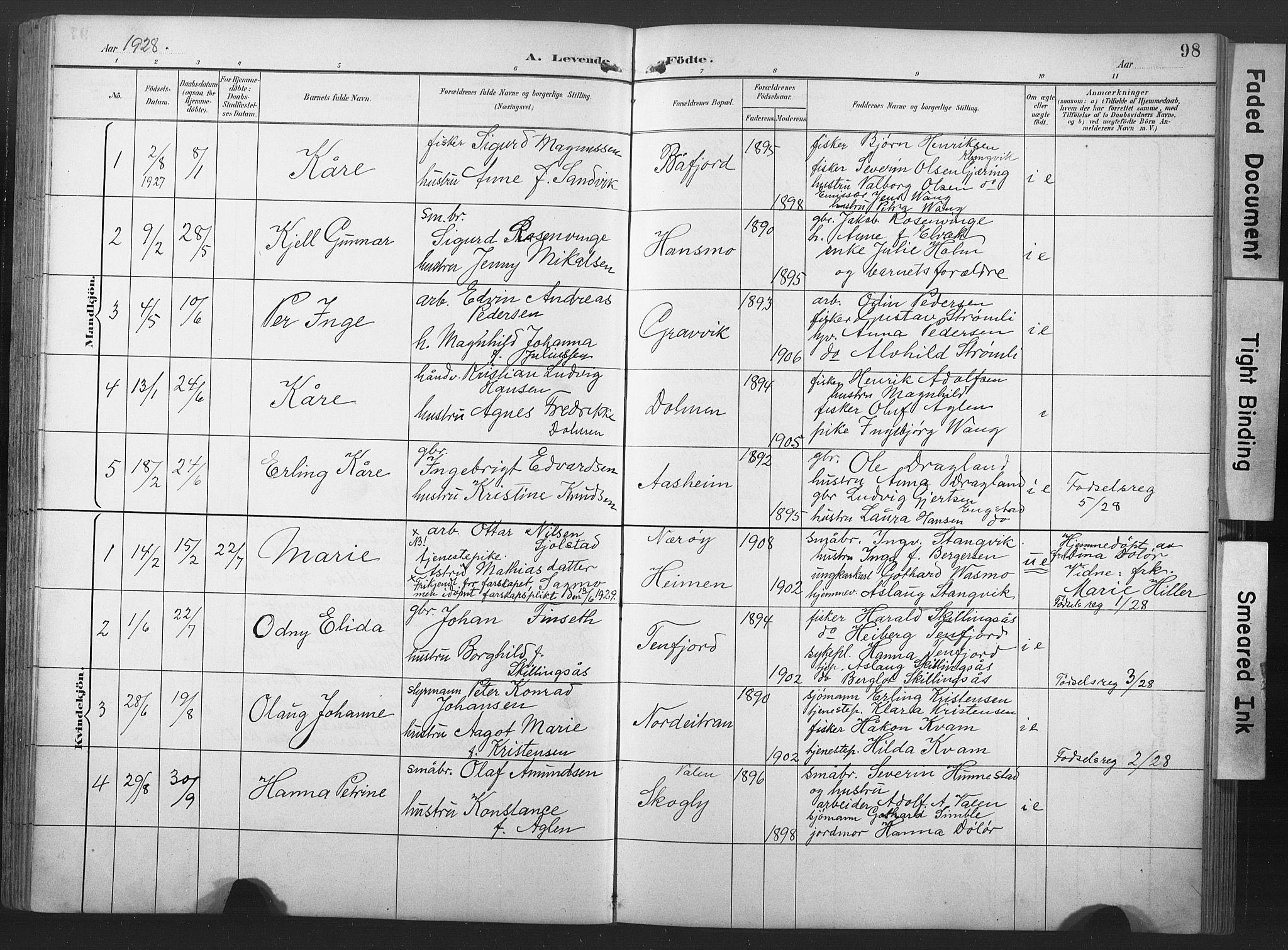 SAT, Ministerialprotokoller, klokkerbøker og fødselsregistre - Nord-Trøndelag, 789/L0706: Klokkerbok nr. 789C01, 1888-1931, s. 98