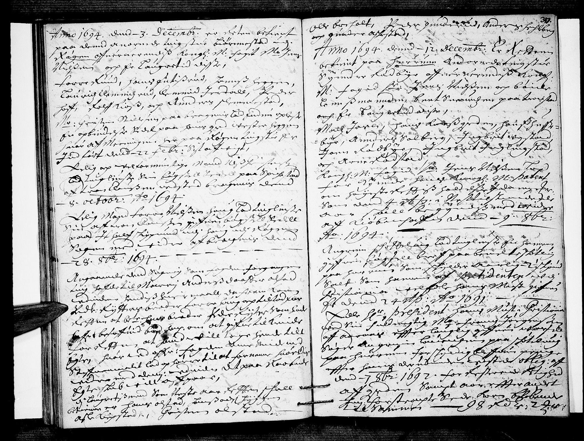 SAKO, Lier, Røyken og Hurum sorenskriveri, F/Fa/L0035: Tingbok, 1694, s. 37