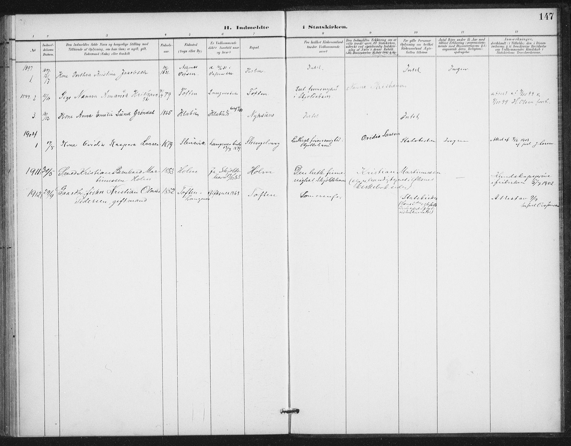 SAT, Ministerialprotokoller, klokkerbøker og fødselsregistre - Nordland, 894/L1356: Ministerialbok nr. 894A02, 1897-1914, s. 147
