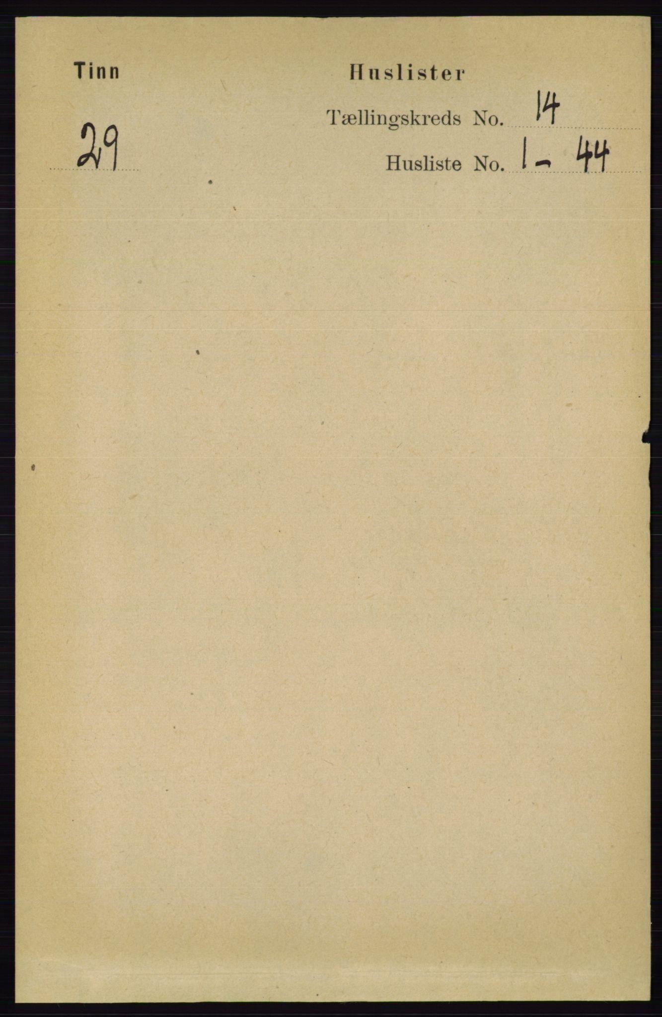RA, Folketelling 1891 for 0826 Tinn herred, 1891, s. 2825