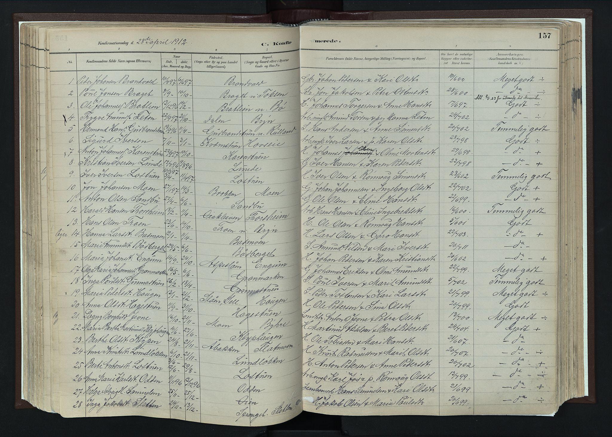 SAH, Nord-Fron prestekontor, Ministerialbok nr. 4, 1884-1914, s. 157