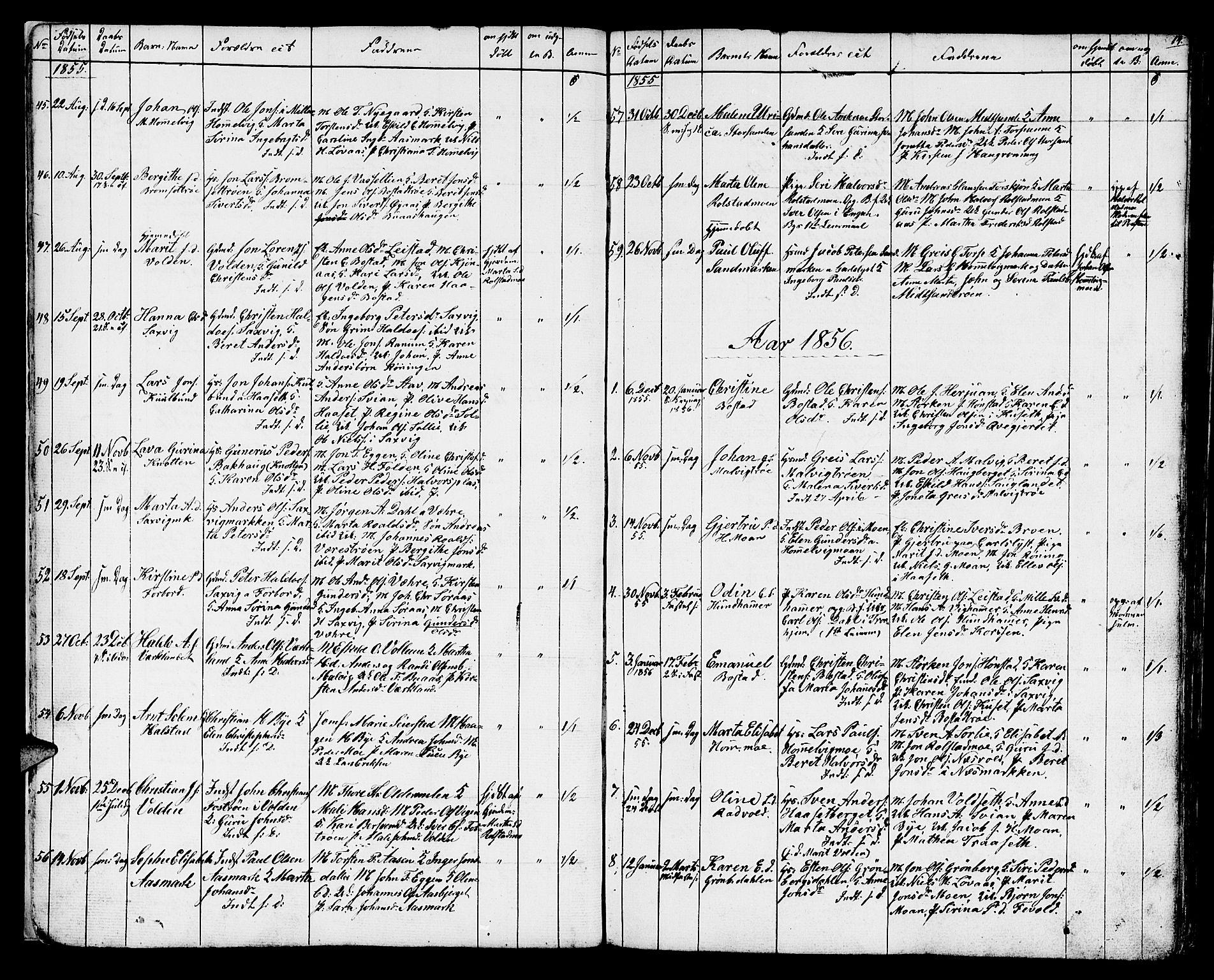 SAT, Ministerialprotokoller, klokkerbøker og fødselsregistre - Sør-Trøndelag, 616/L0422: Klokkerbok nr. 616C05, 1850-1888, s. 14