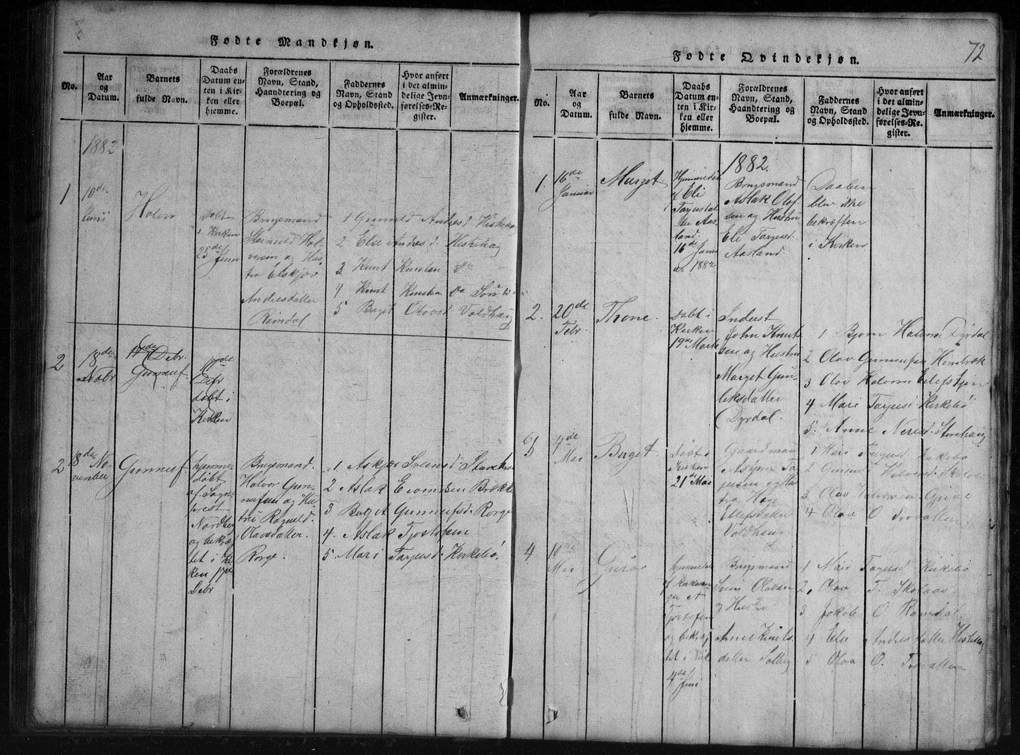 SAKO, Rauland kirkebøker, G/Gb/L0001: Klokkerbok nr. II 1, 1815-1886, s. 72