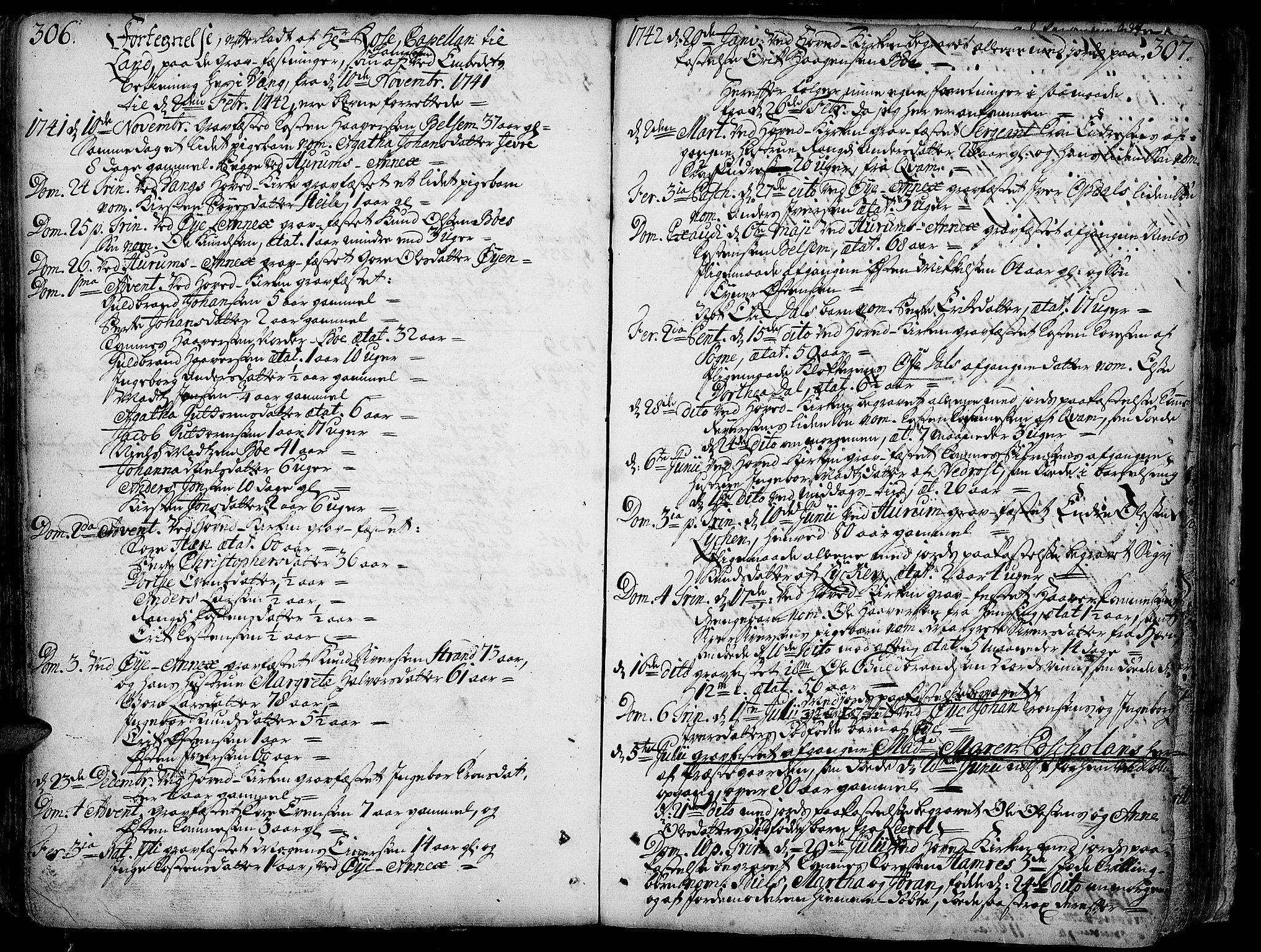 SAH, Vang prestekontor, Valdres, Ministerialbok nr. 1, 1730-1796, s. 306-307