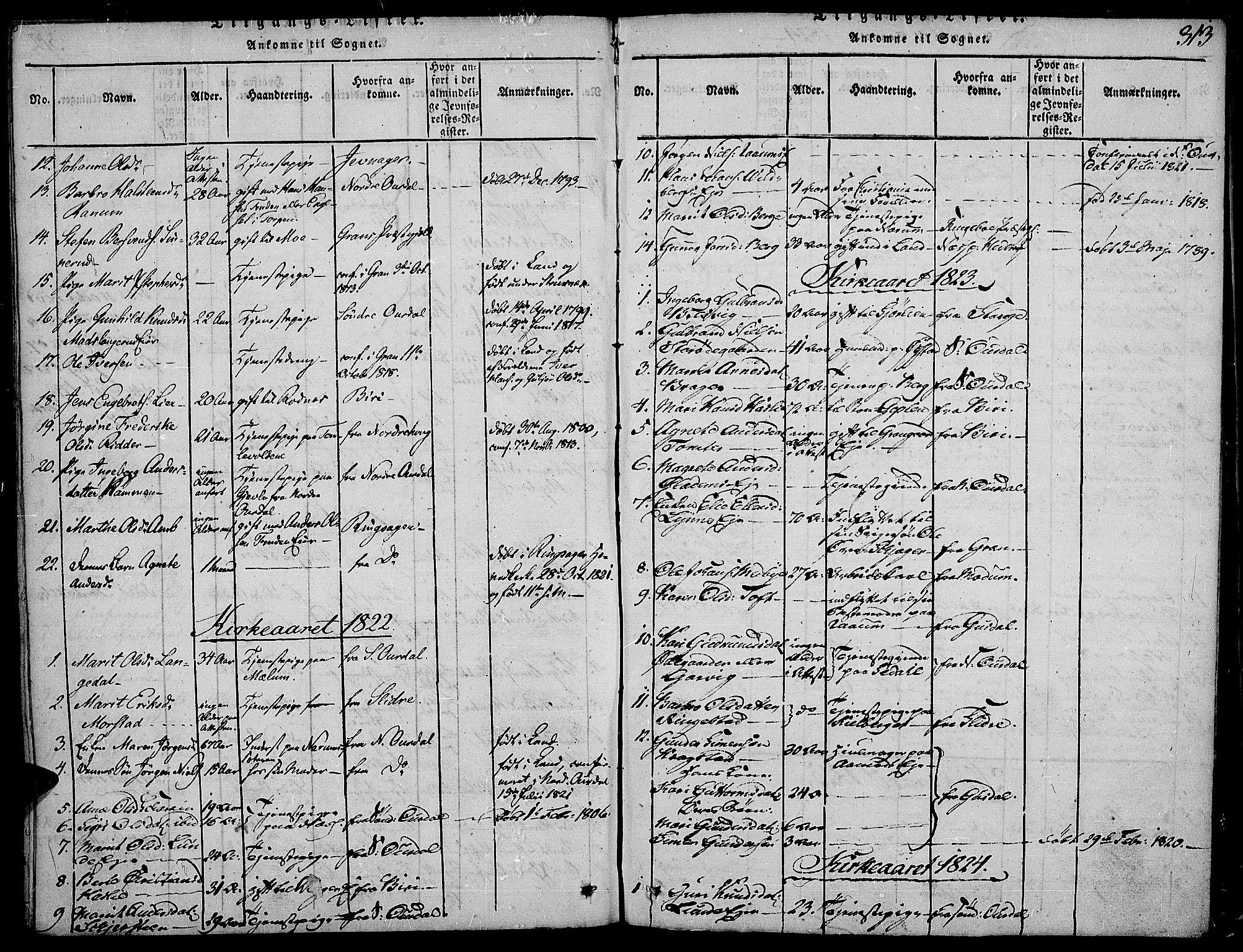 SAH, Land prestekontor, Ministerialbok nr. 7, 1814-1830, s. 313
