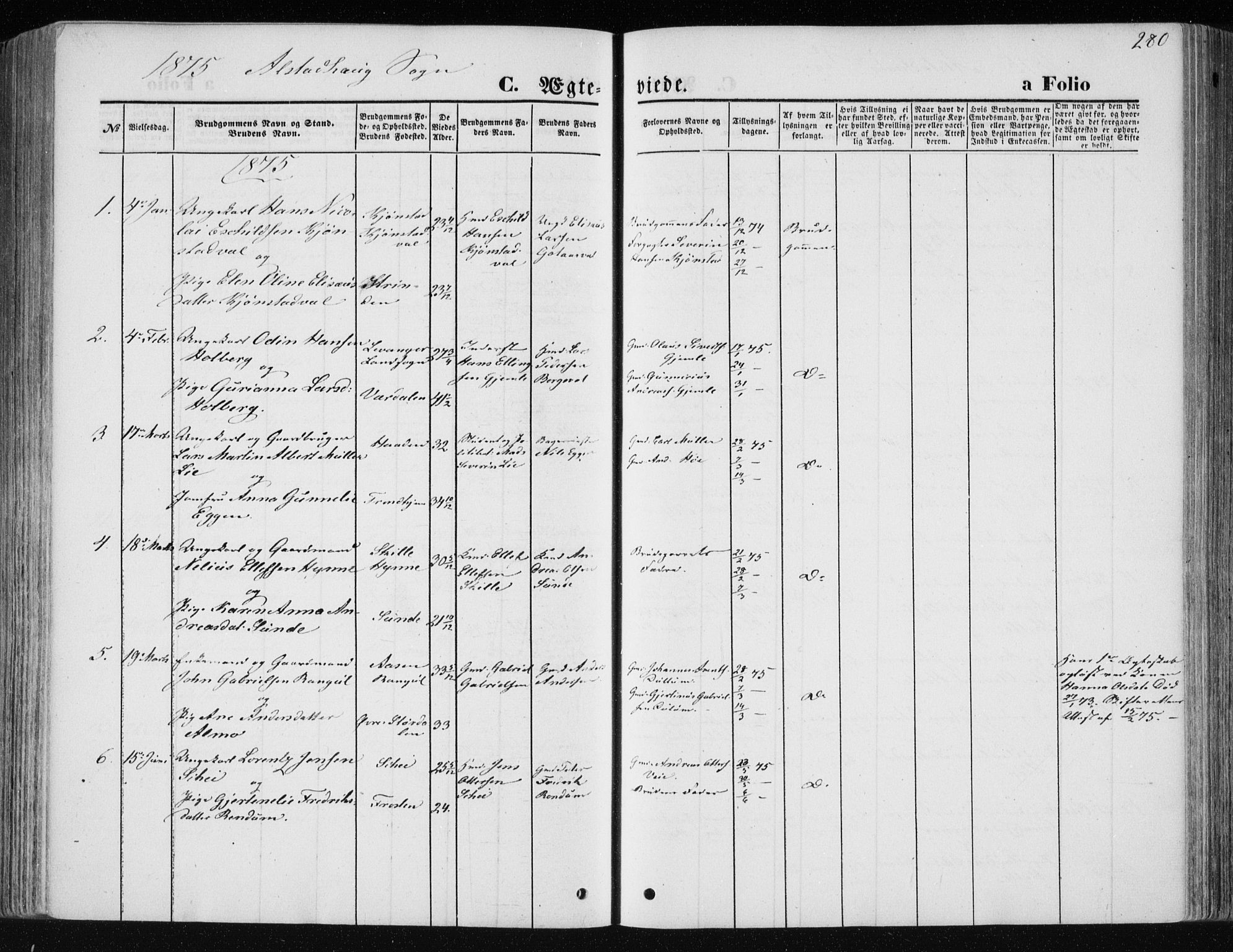 SAT, Ministerialprotokoller, klokkerbøker og fødselsregistre - Nord-Trøndelag, 717/L0157: Ministerialbok nr. 717A08 /1, 1863-1877, s. 280