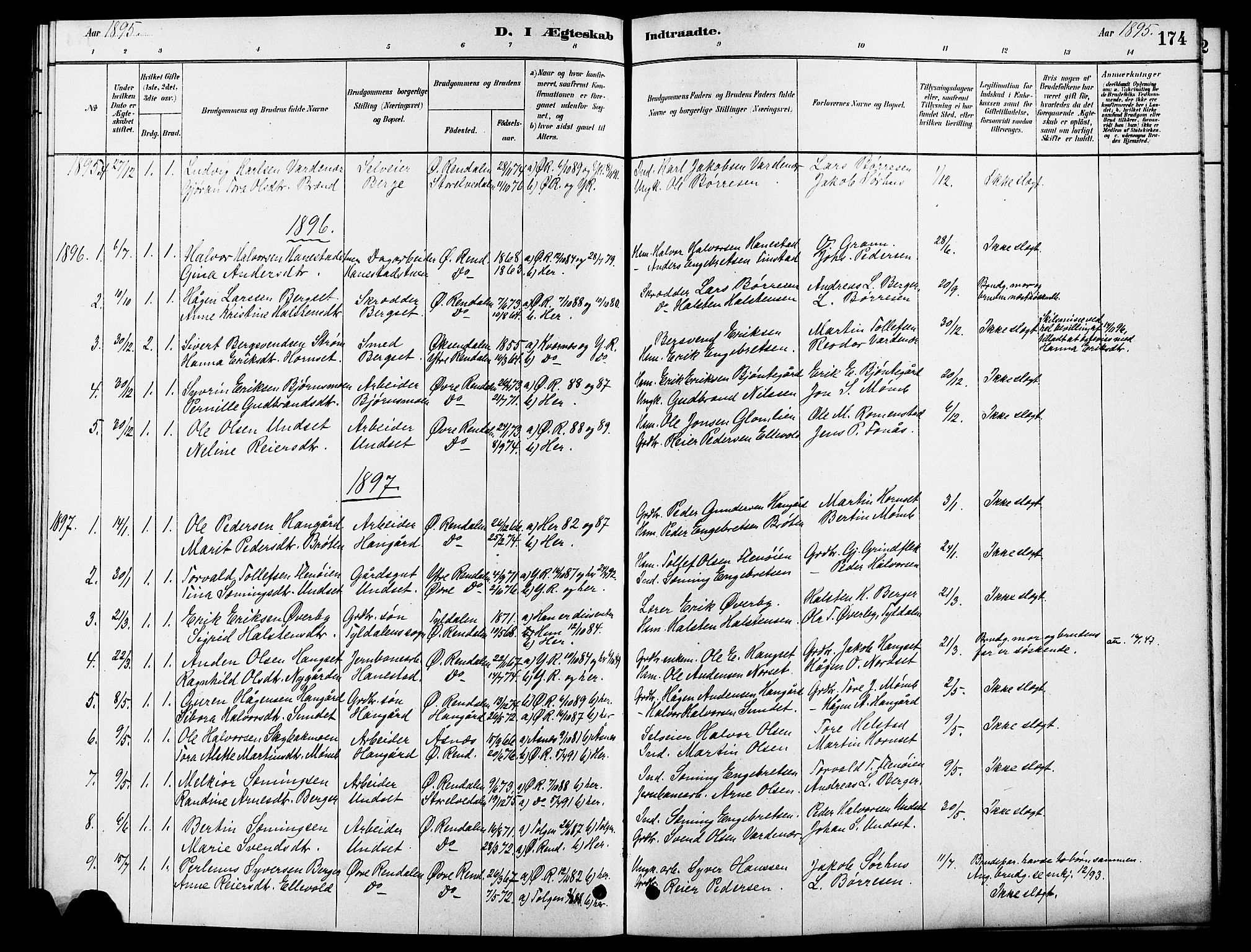 SAH, Rendalen prestekontor, H/Ha/Hab/L0003: Klokkerbok nr. 3, 1879-1904, s. 174