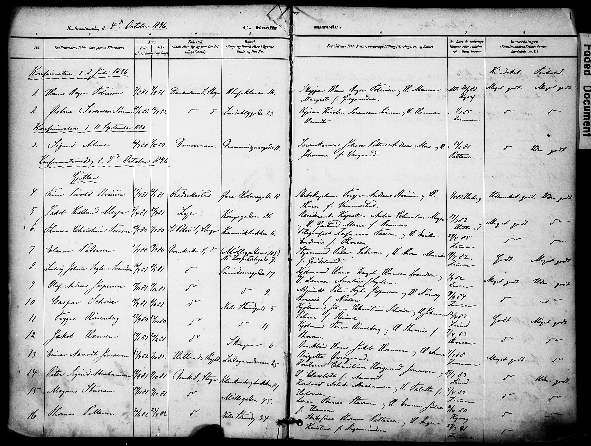 SAST, Domkirken sokneprestkontor, 30/30BA/L0031: Ministerialbok nr. A 30, 1896-1916, s. 1