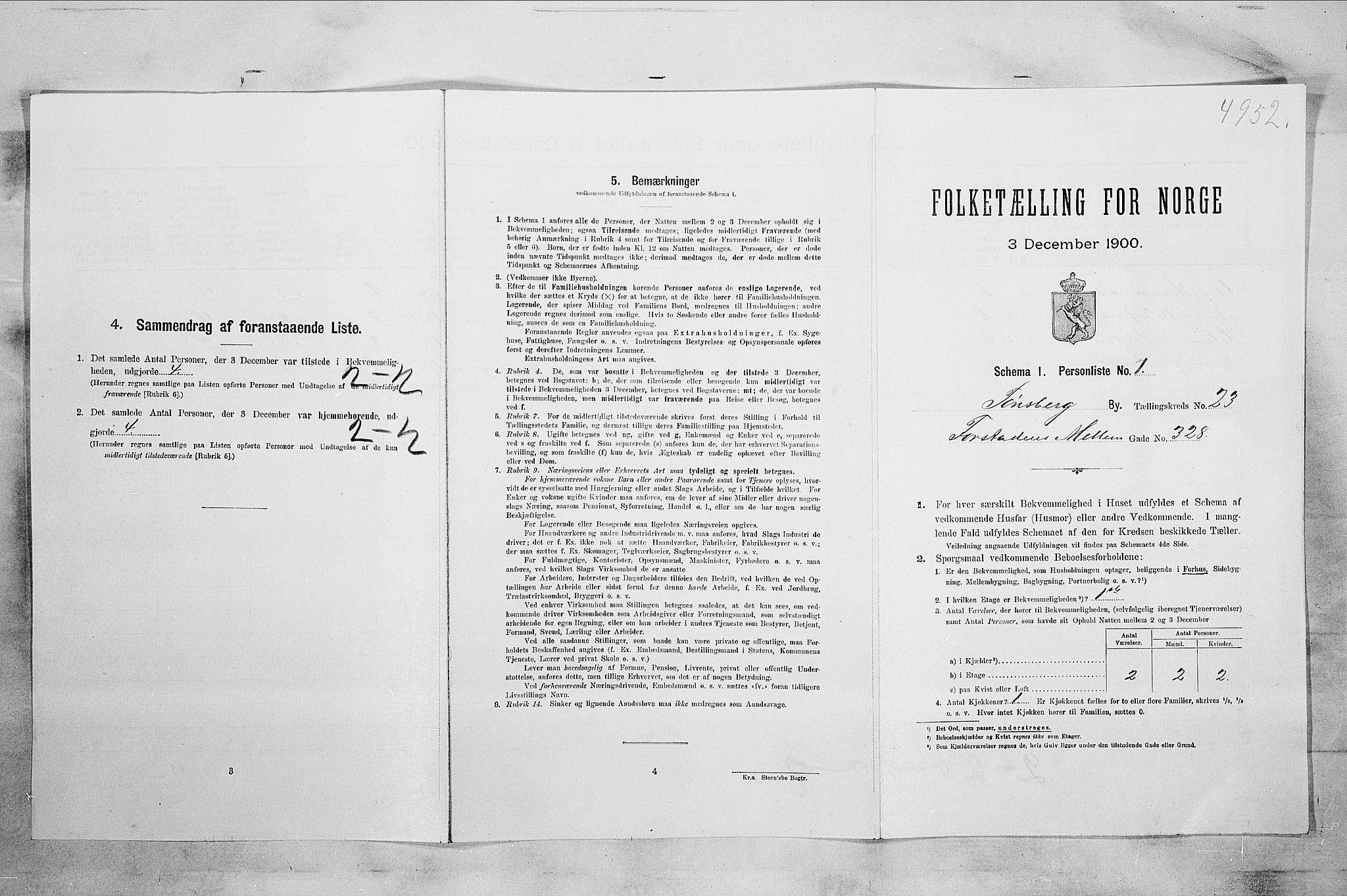 RA, Folketelling 1900 for 0705 Tønsberg kjøpstad, 1900, s. 3680
