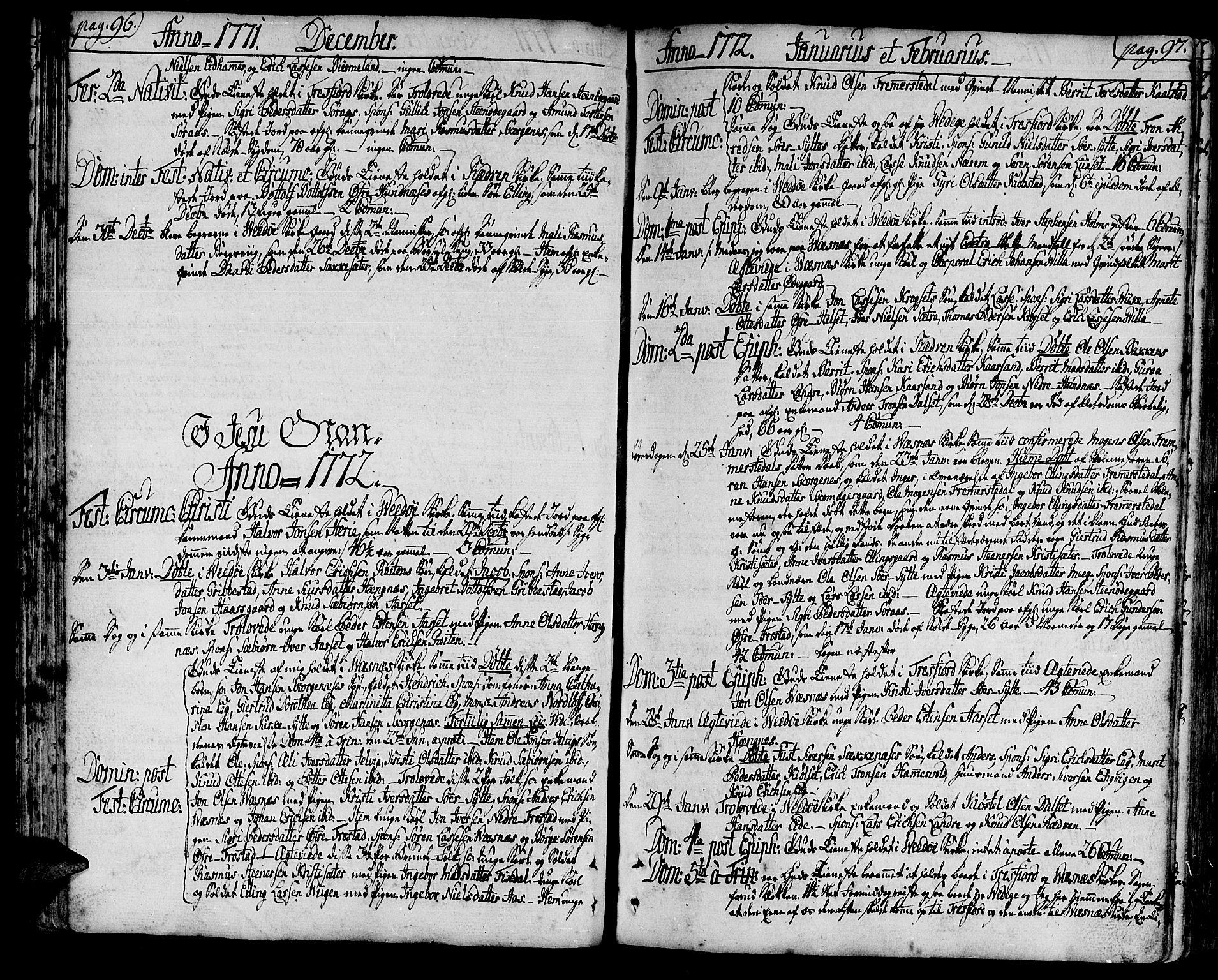 SAT, Ministerialprotokoller, klokkerbøker og fødselsregistre - Møre og Romsdal, 547/L0600: Ministerialbok nr. 547A02, 1765-1799, s. 96-97