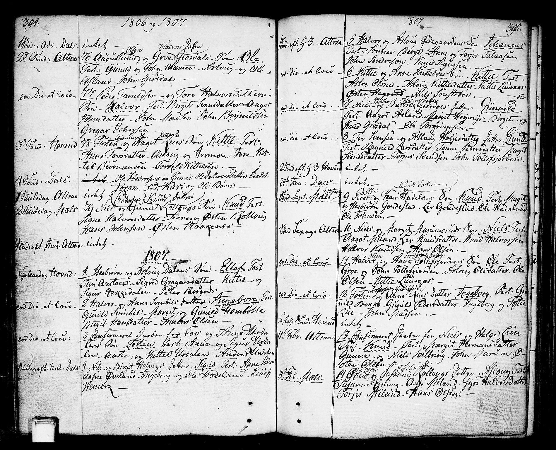 SAKO, Tinn kirkebøker, F/Fa/L0002: Ministerialbok nr. I 2, 1757-1810, s. 394-395