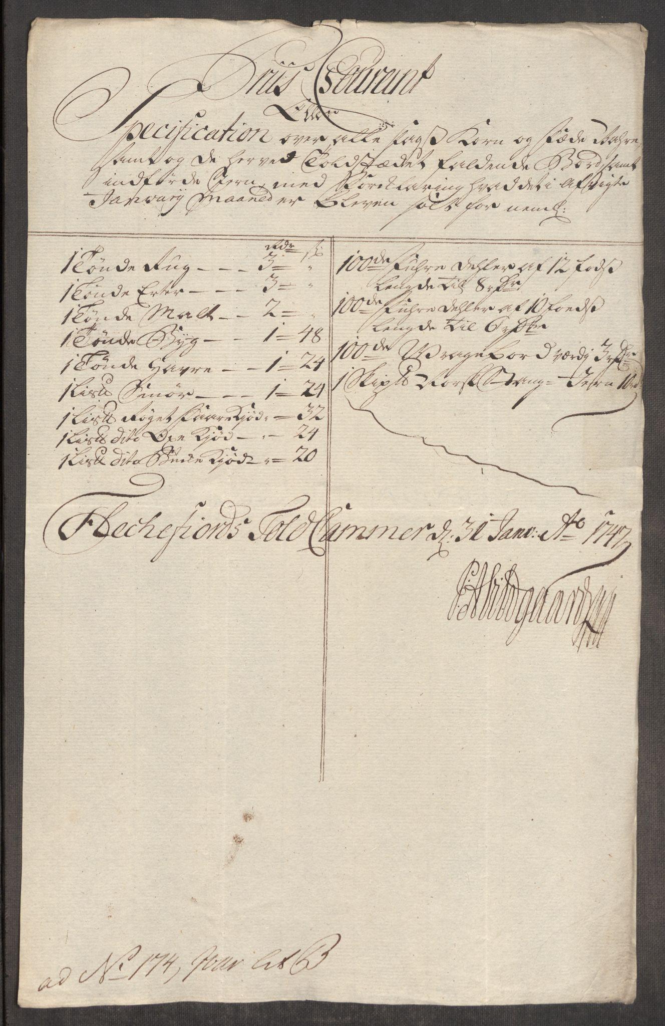 RA, Rentekammeret inntil 1814, Realistisk ordnet avdeling, Oe/L0003: [Ø1]: Priskuranter, 1745-1748, s. 651
