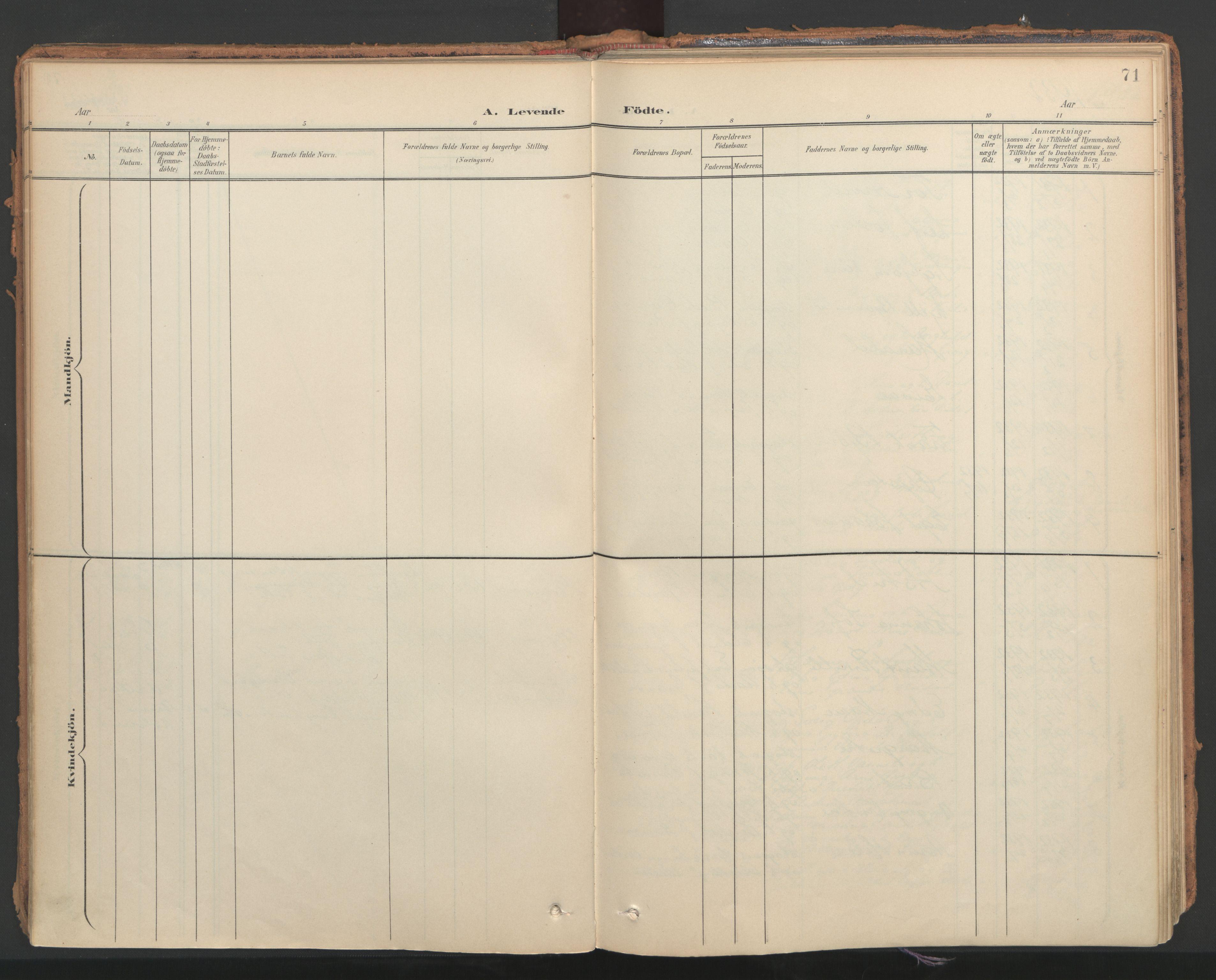 SAT, Ministerialprotokoller, klokkerbøker og fødselsregistre - Nord-Trøndelag, 766/L0564: Ministerialbok nr. 767A02, 1900-1932, s. 71