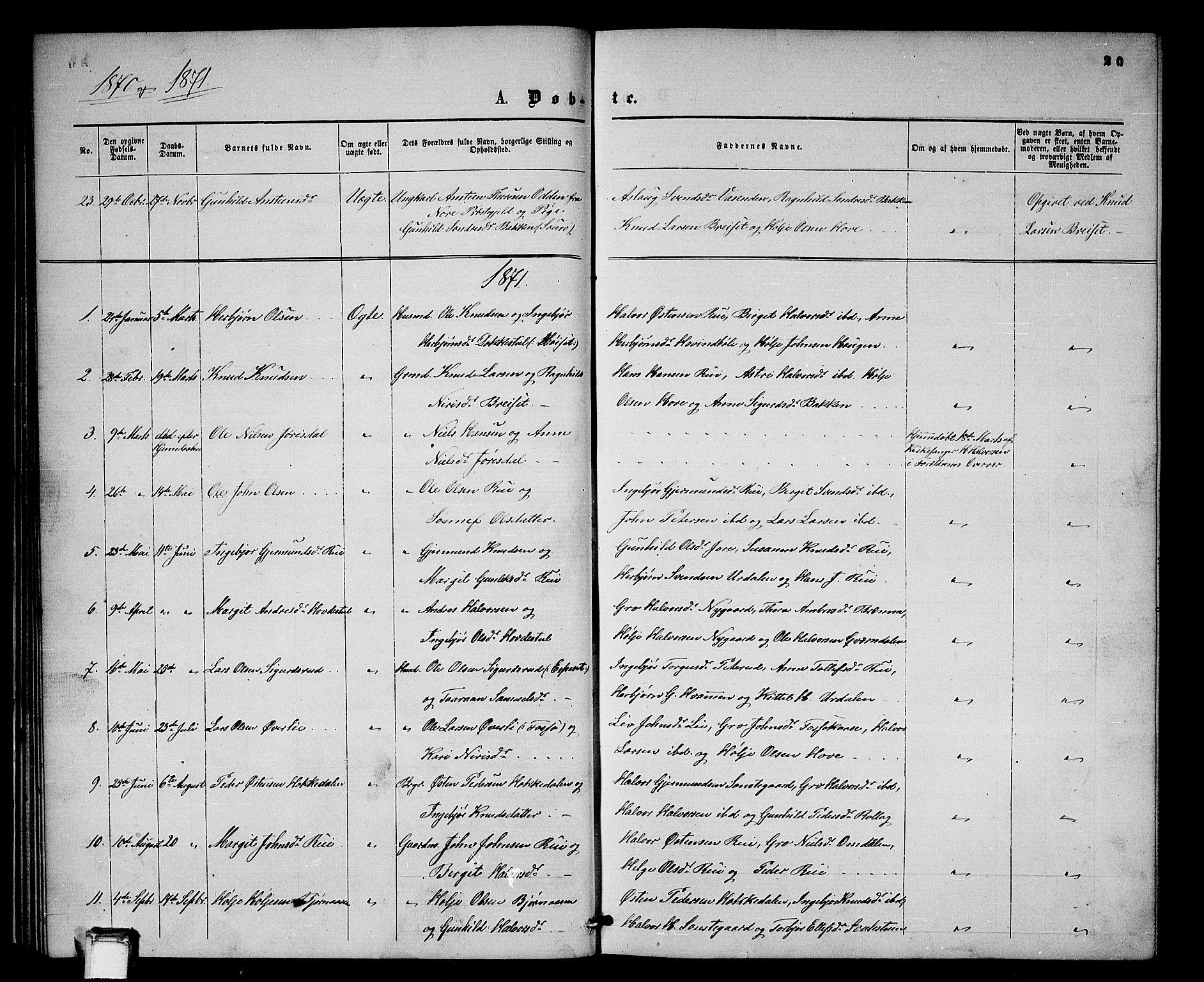 SAKO, Gransherad kirkebøker, G/Gb/L0002: Klokkerbok nr. II 2, 1860-1886, s. 20