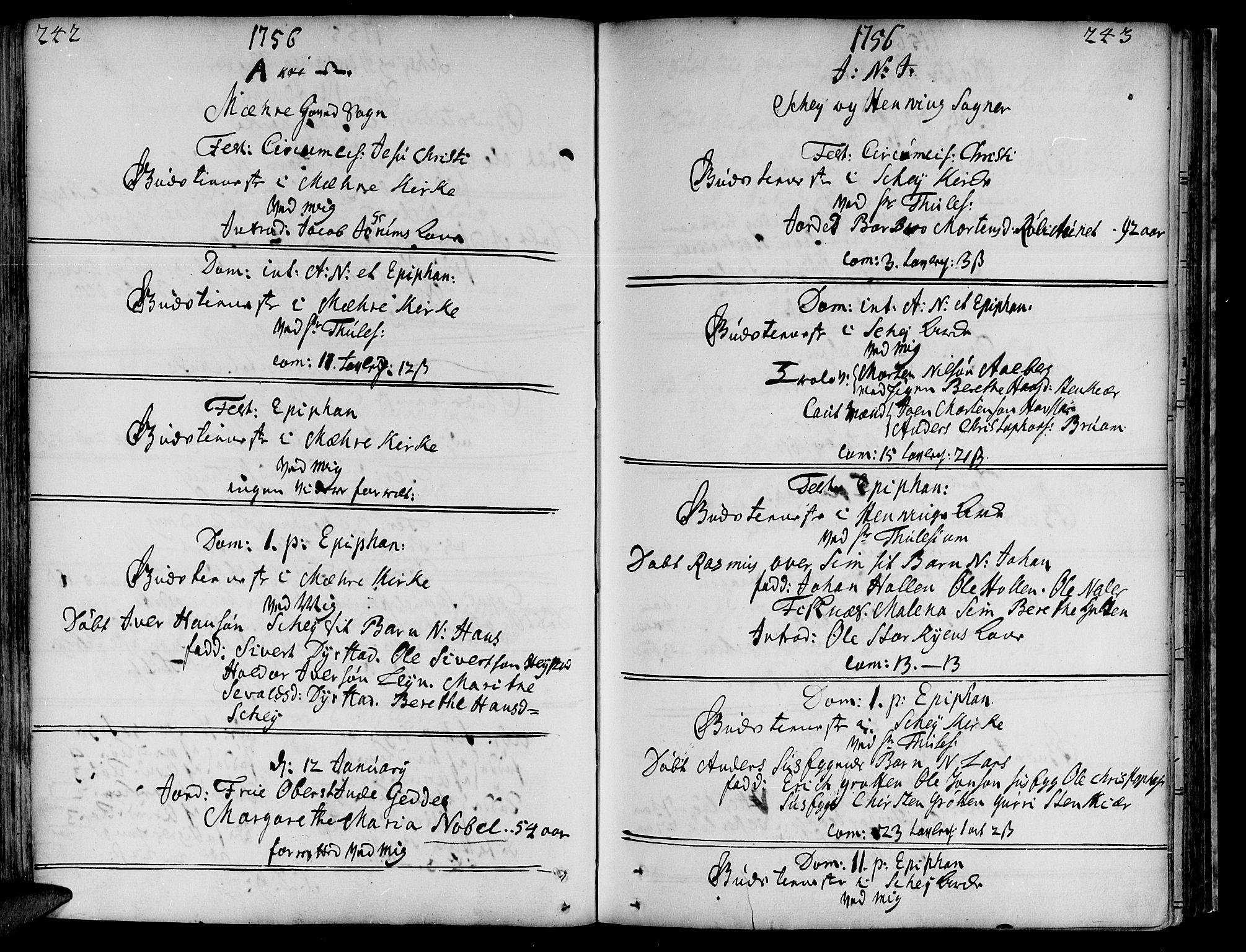 SAT, Ministerialprotokoller, klokkerbøker og fødselsregistre - Nord-Trøndelag, 735/L0330: Ministerialbok nr. 735A01, 1740-1766, s. 242-243