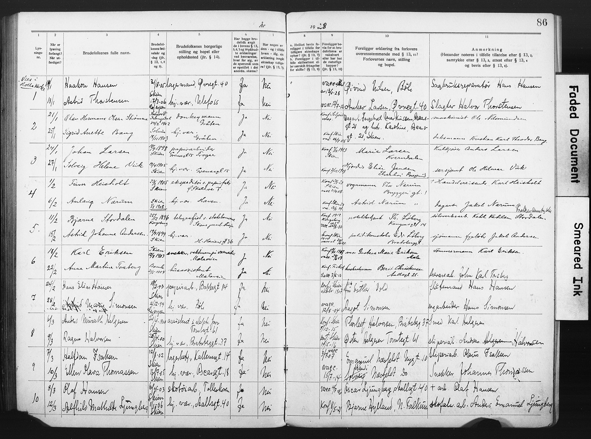 SAKO, Skien kirkebøker, H/Ha/L0001: Lysningsprotokoll nr. 1, 1919-1929, s. 86