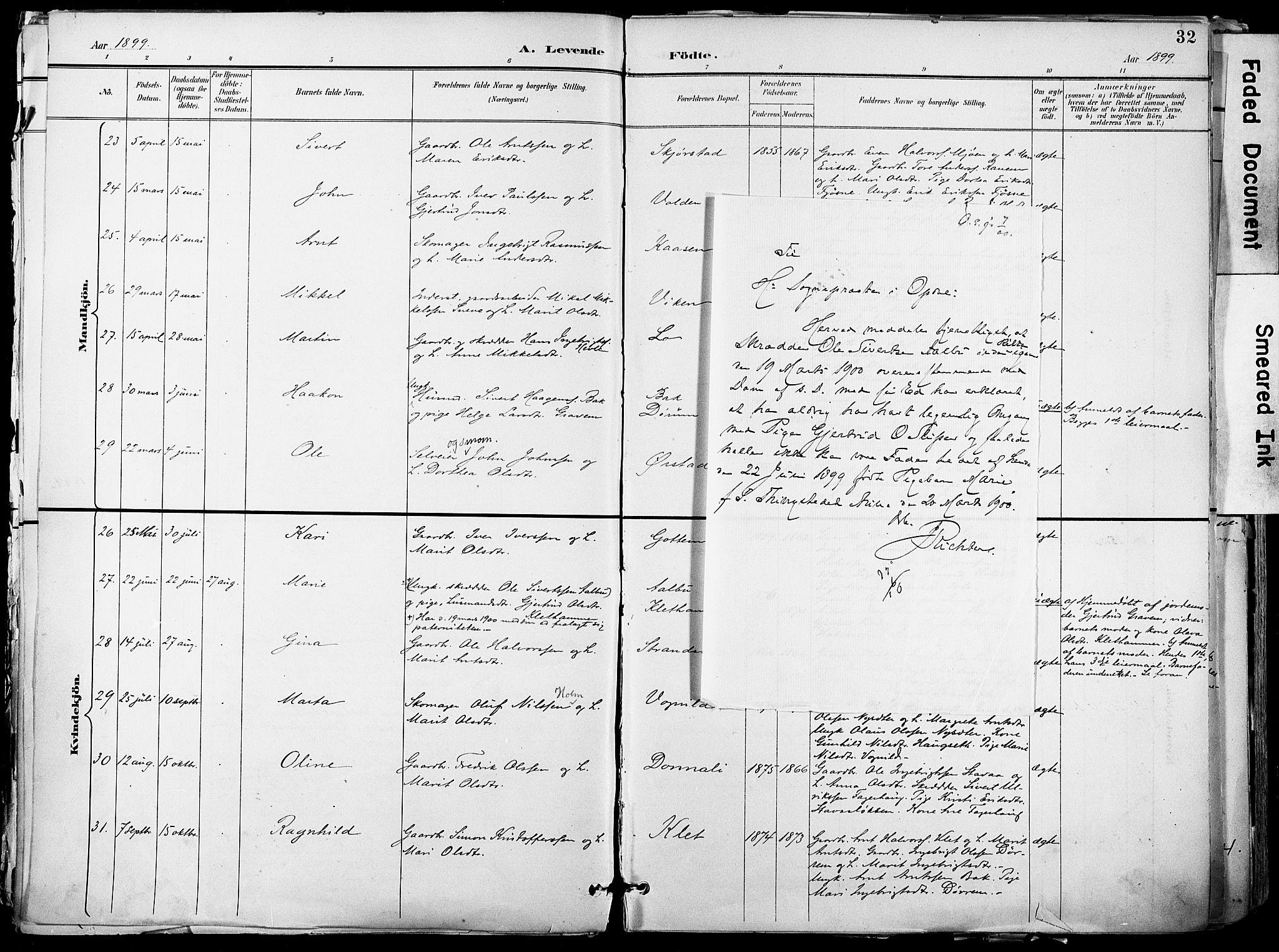 SAT, Ministerialprotokoller, klokkerbøker og fødselsregistre - Sør-Trøndelag, 678/L0902: Ministerialbok nr. 678A11, 1895-1911, s. 32